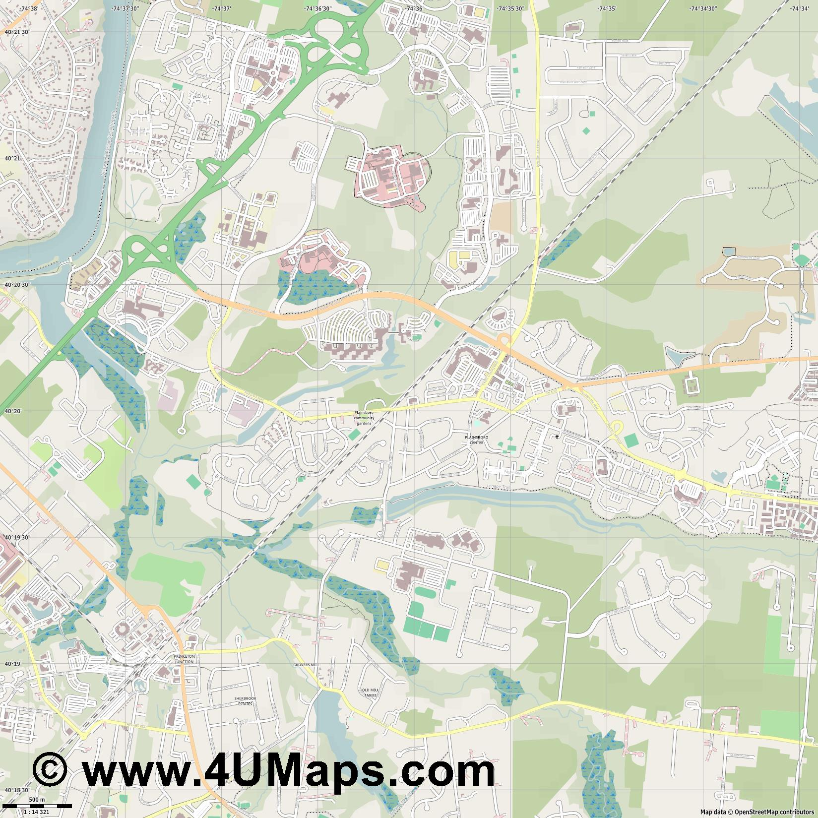Plainsboro  jpg ultra high detail preview vector city map