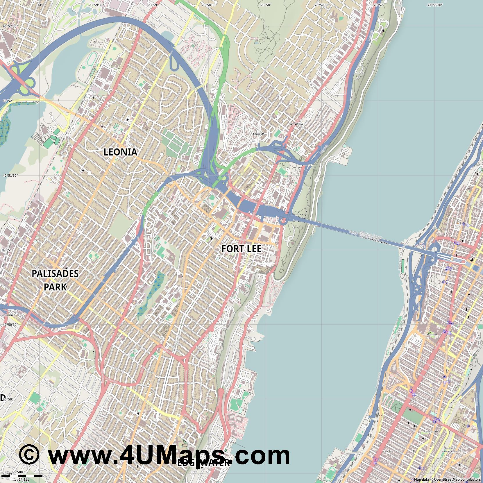Fort Lee  jpg ultra high detail preview vector city map