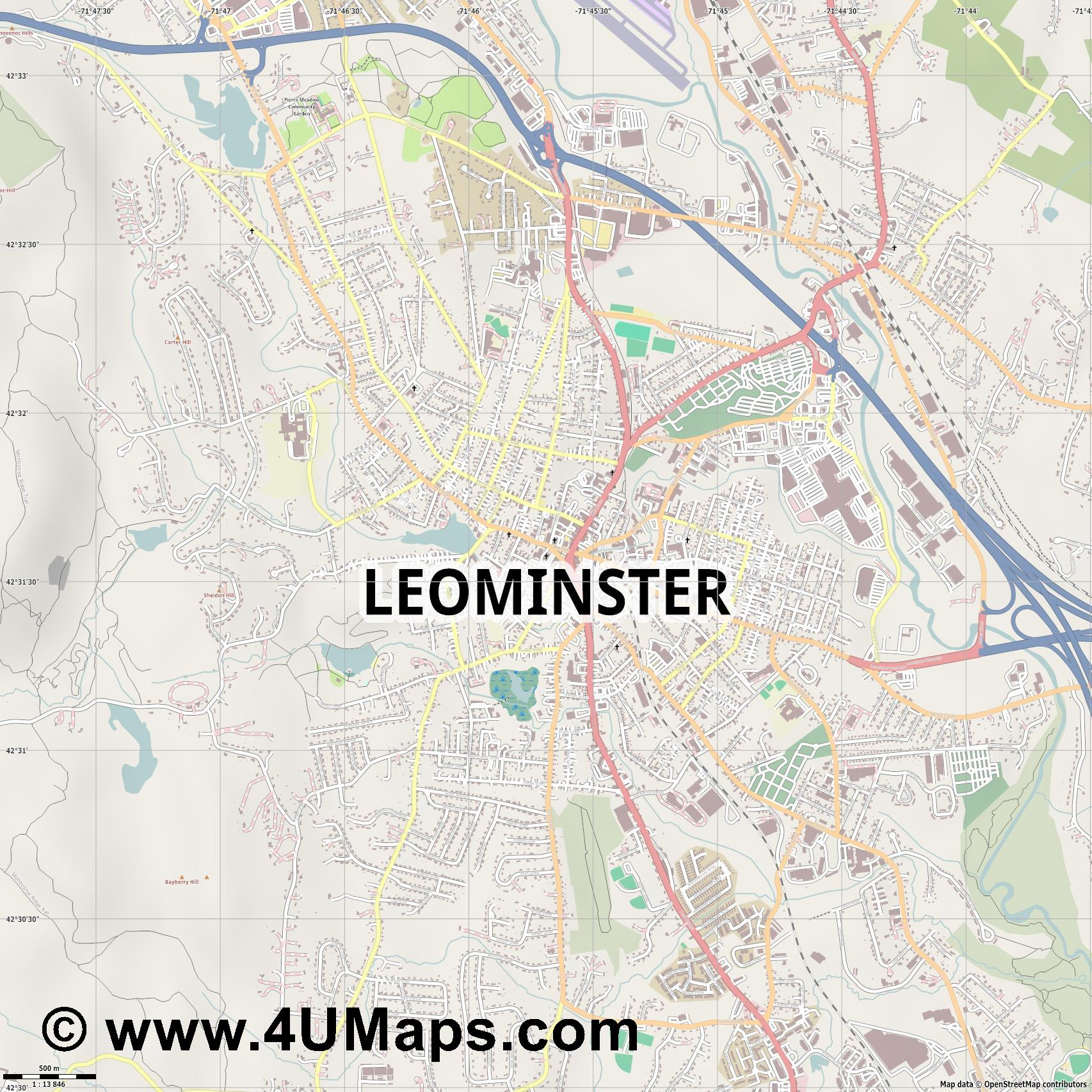 Leominster  jpg ultra high detail preview vector city map