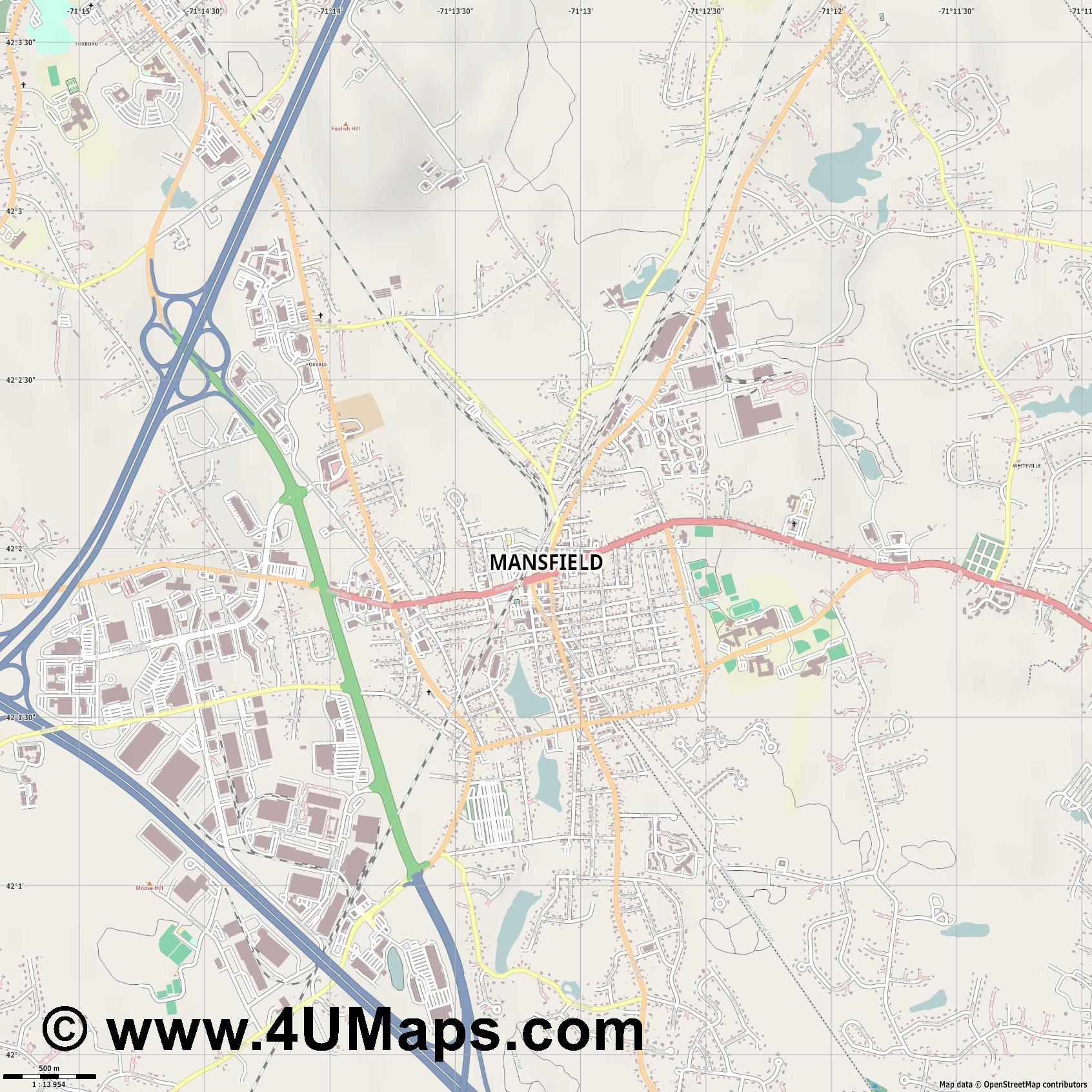 Mansfield  jpg ultra high detail preview vector city map