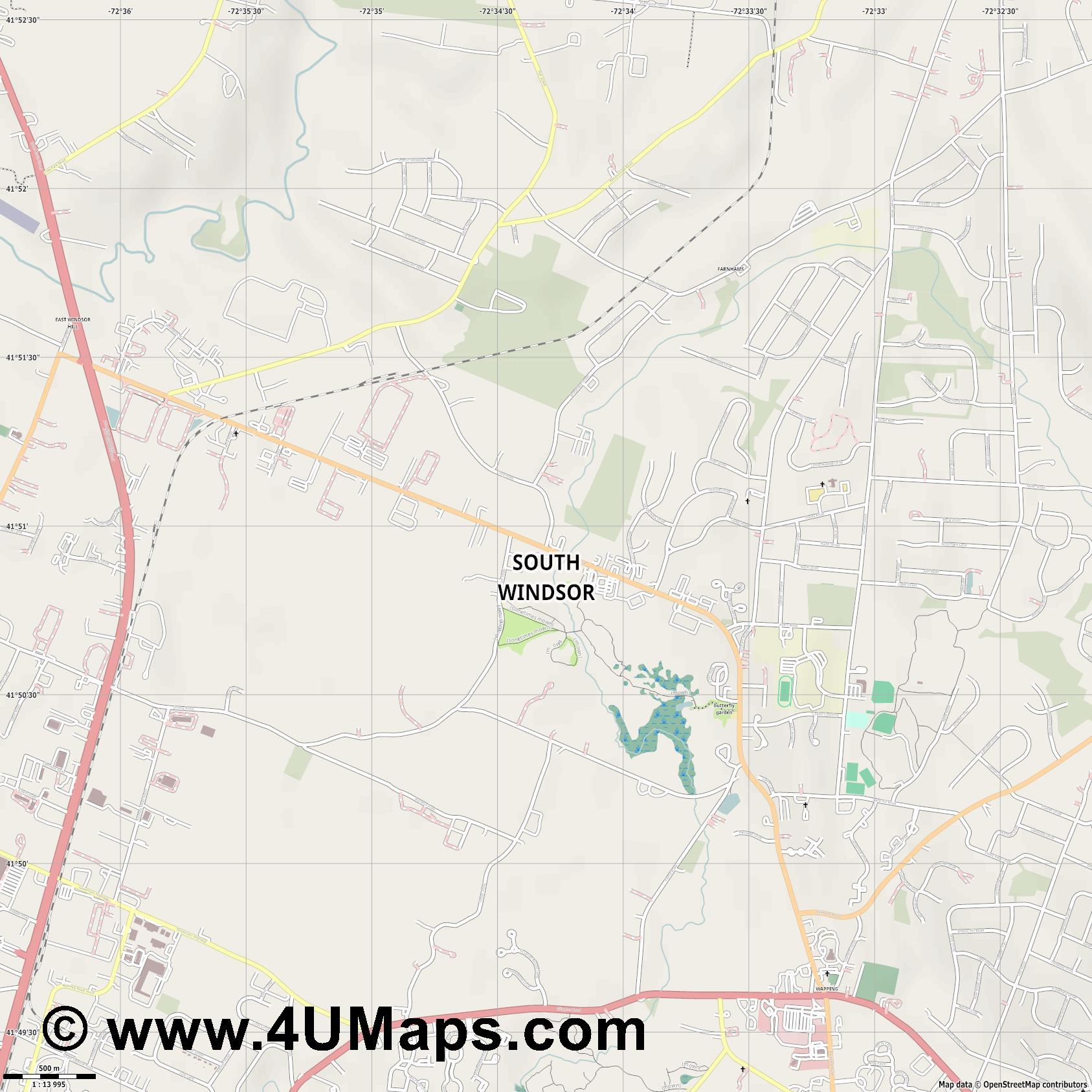 South Windsor  jpg ultra high detail preview vector city map