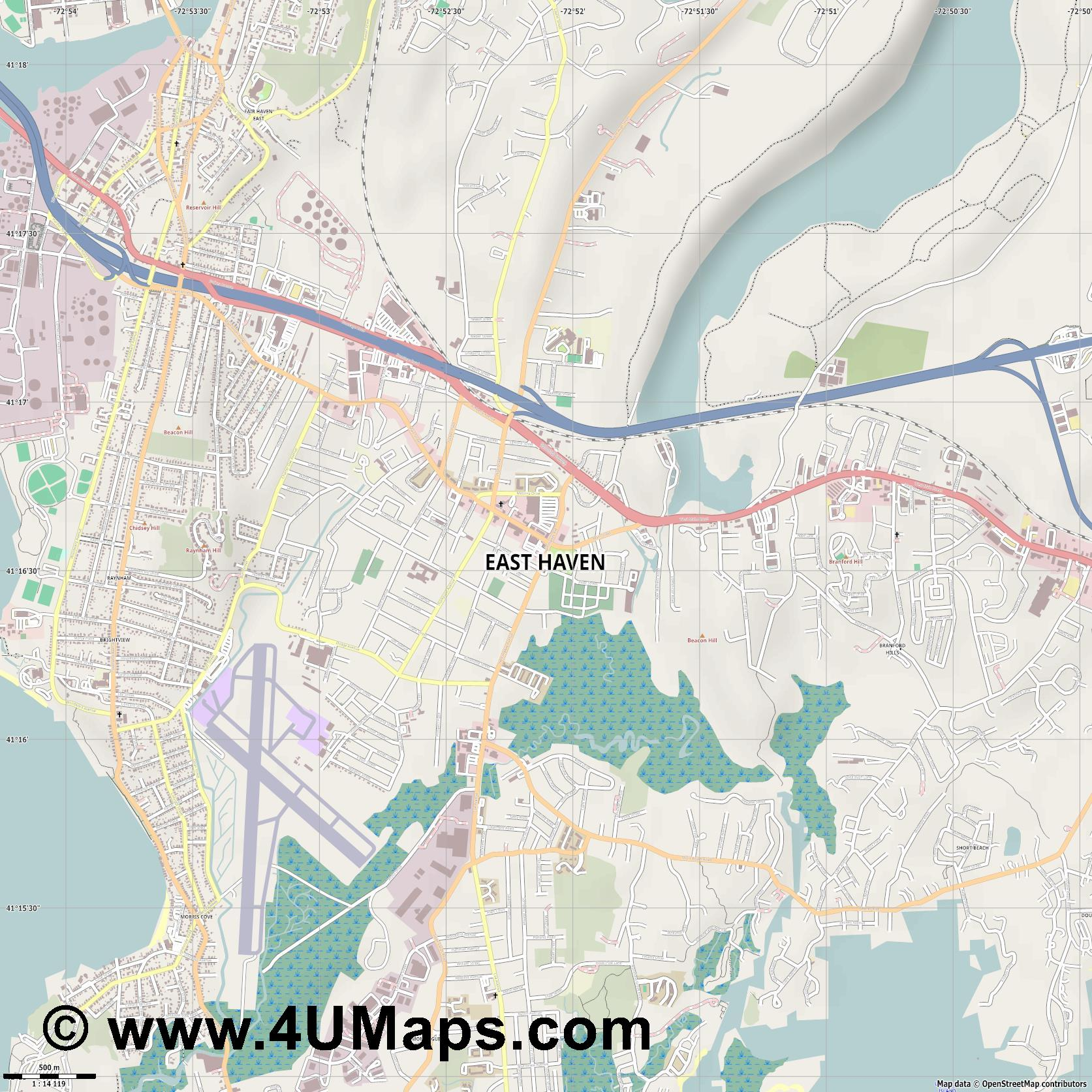 East Haven  jpg ultra high detail preview vector city map