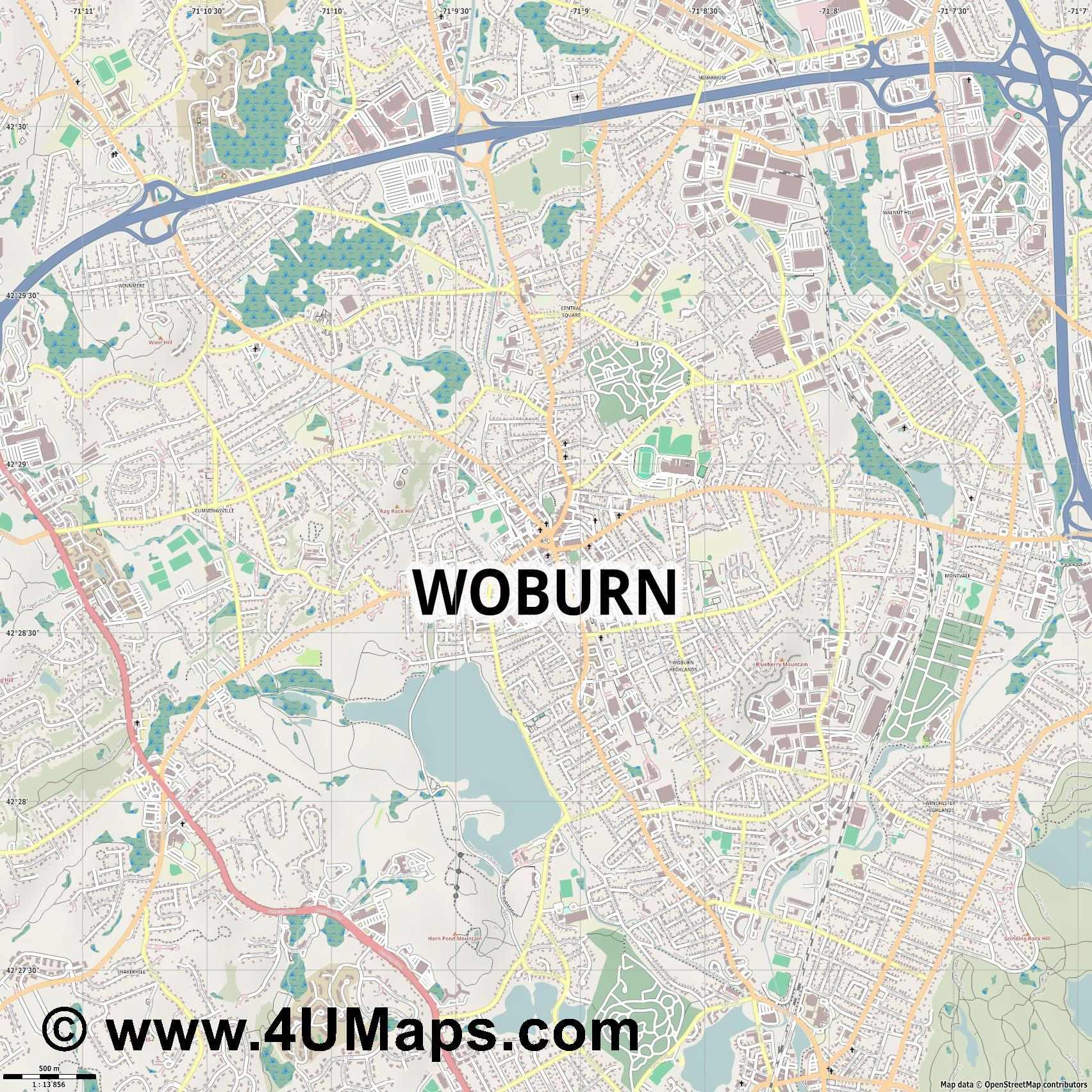 Woburn  jpg ultra high detail preview vector city map