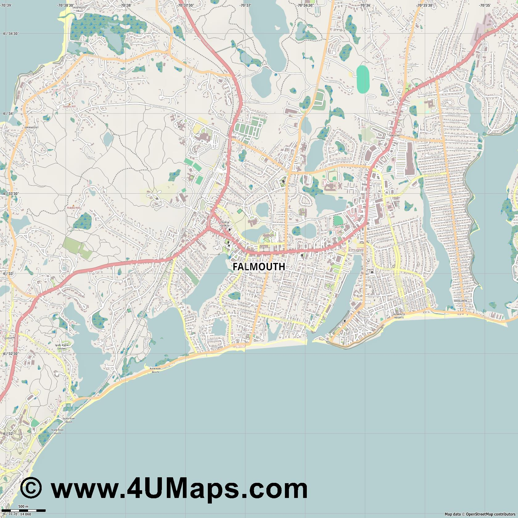Falmouth  jpg ultra high detail preview vector city map
