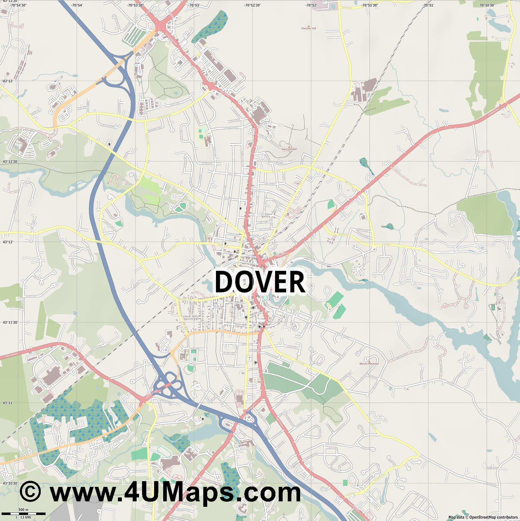 Dover  jpg ultra high detail preview vector city map
