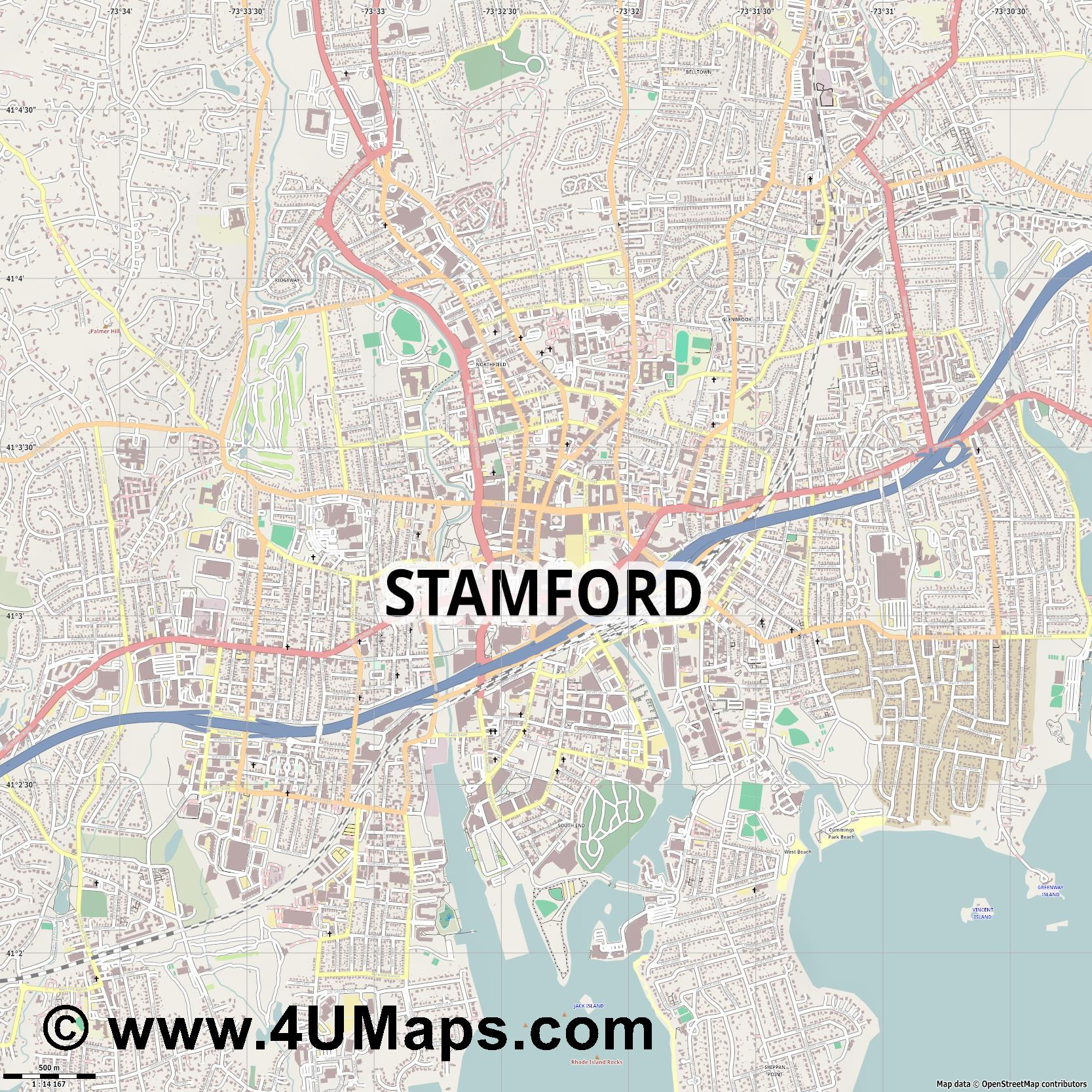 Stamford  jpg ultra high detail preview vector city map