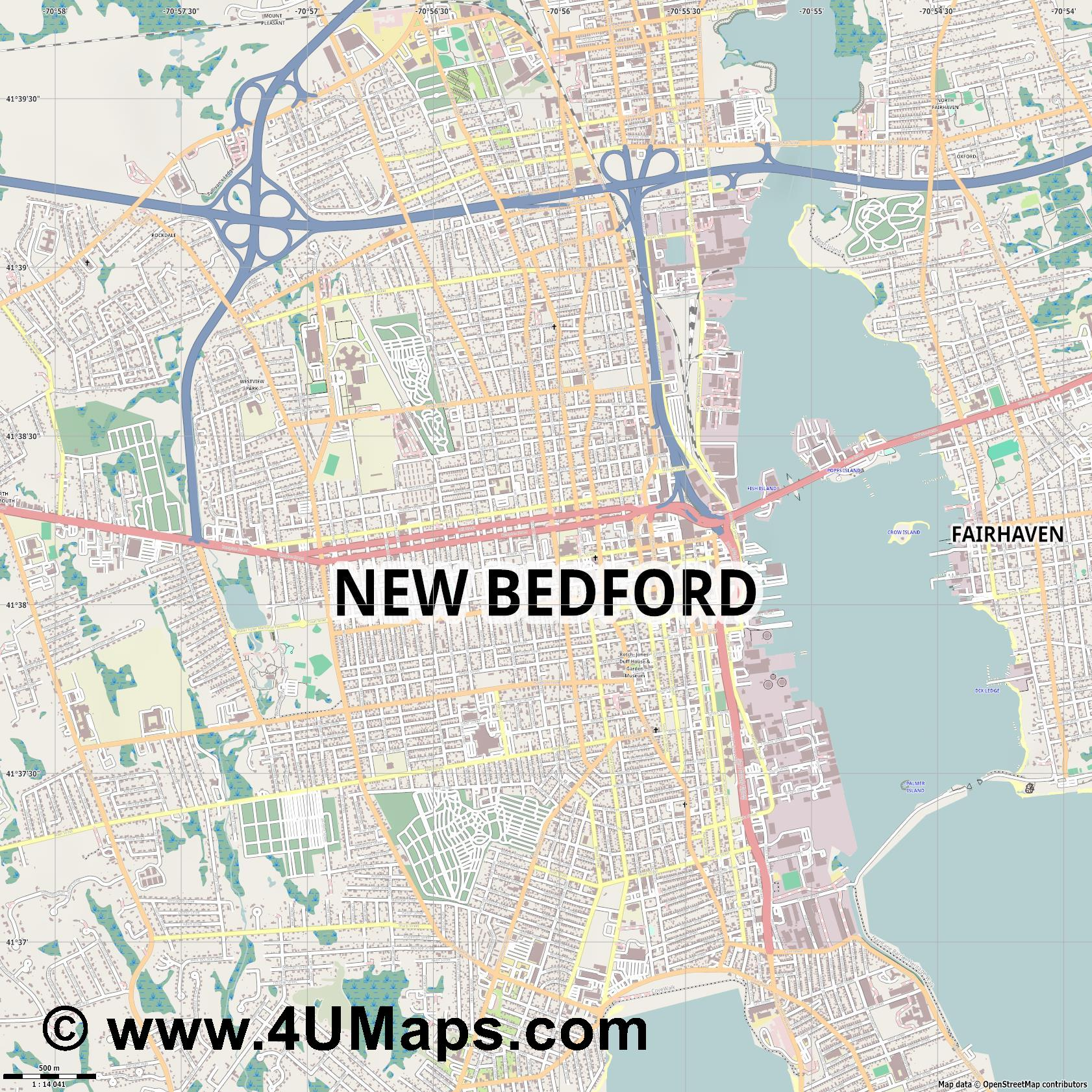 New Bedford  jpg ultra high detail preview vector city map