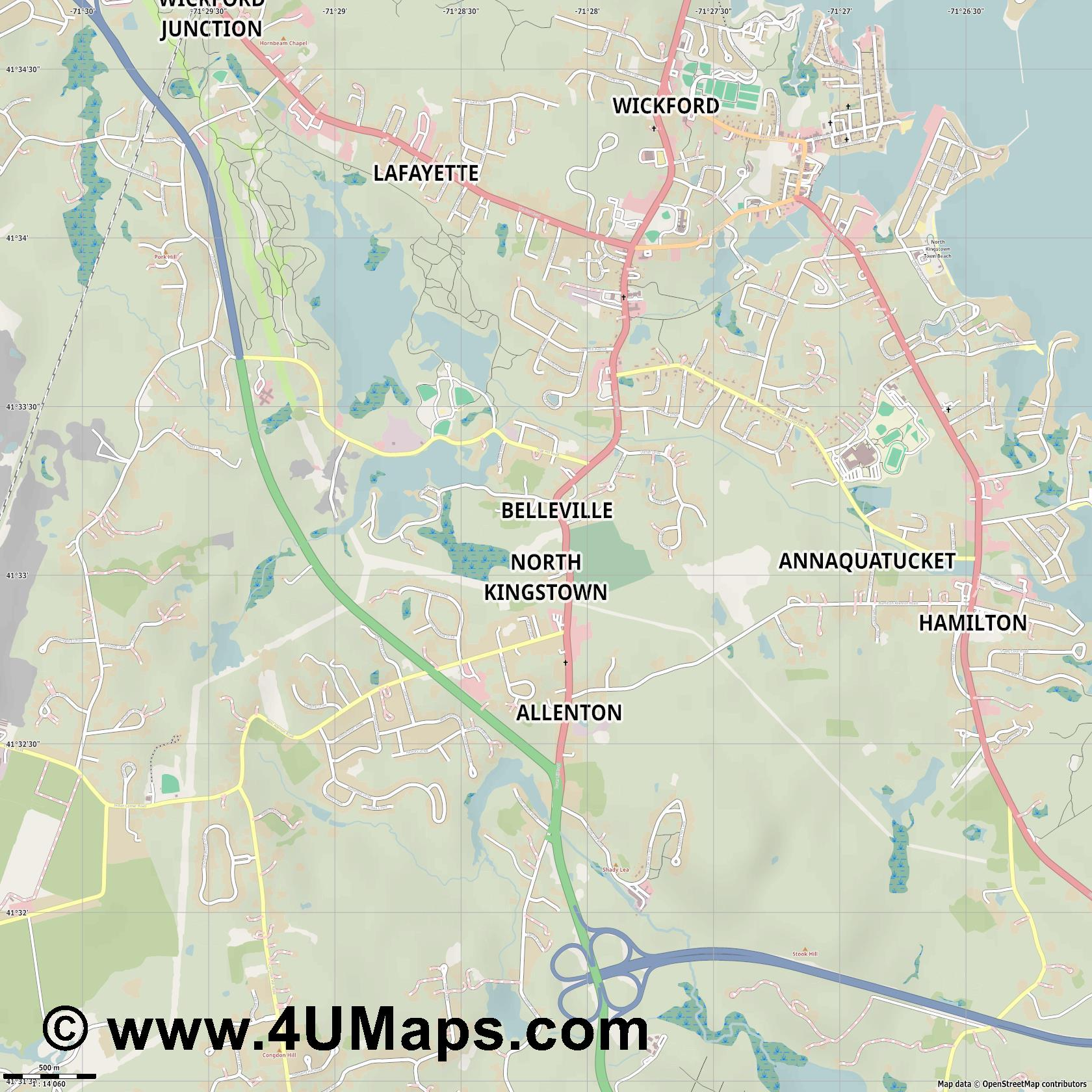 North Kingstown  jpg ultra high detail preview vector city map