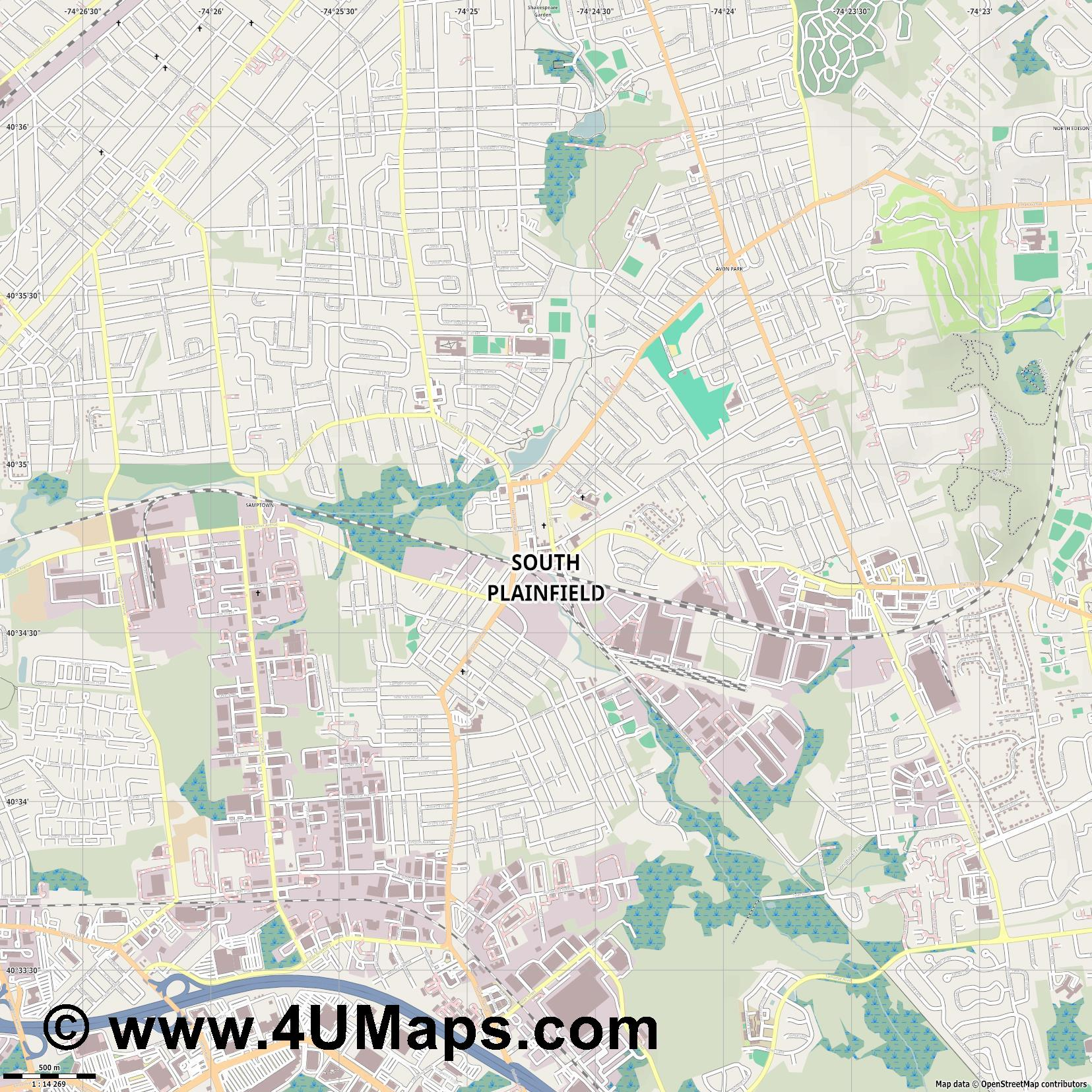 South Plainfield  jpg ultra high detail preview vector city map