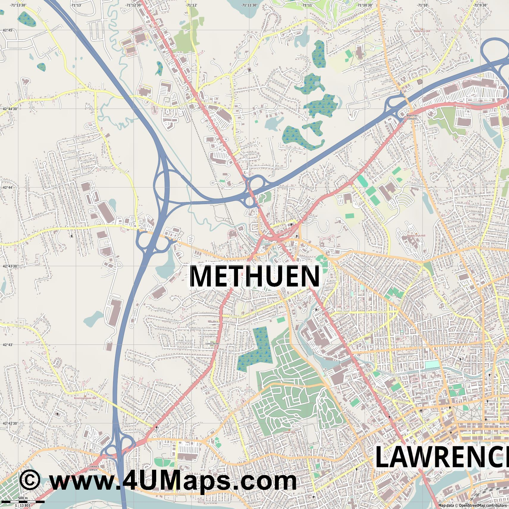 Methuen  jpg ultra high detail preview vector city map