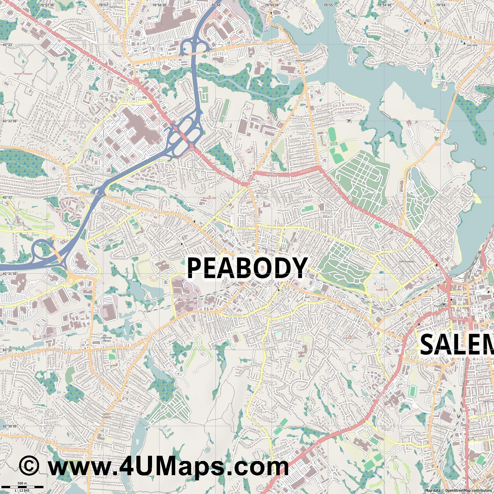 Peabody  jpg ultra high detail preview vector city map