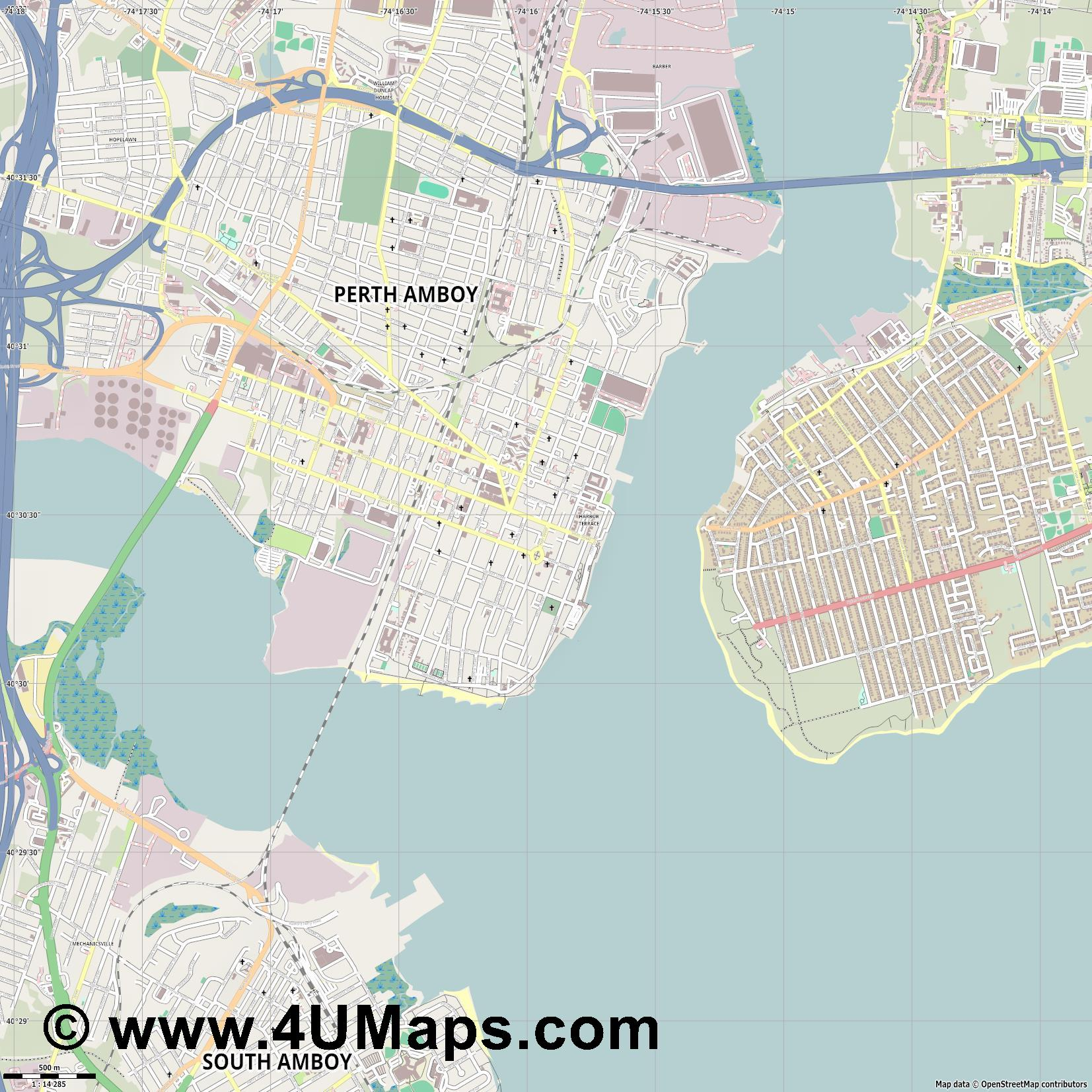 Perth Amboy  jpg ultra high detail preview vector city map