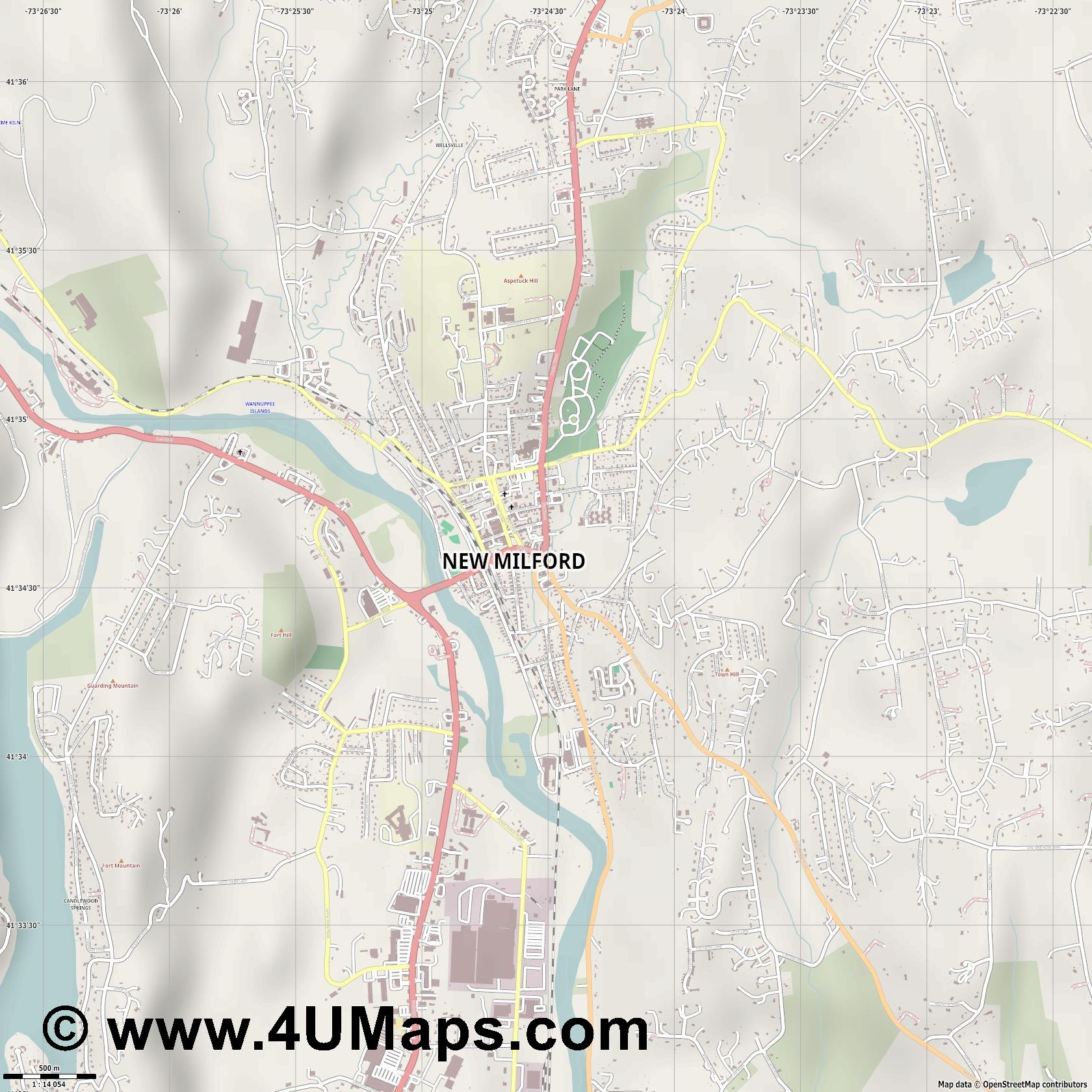 New Milford  jpg ultra high detail preview vector city map