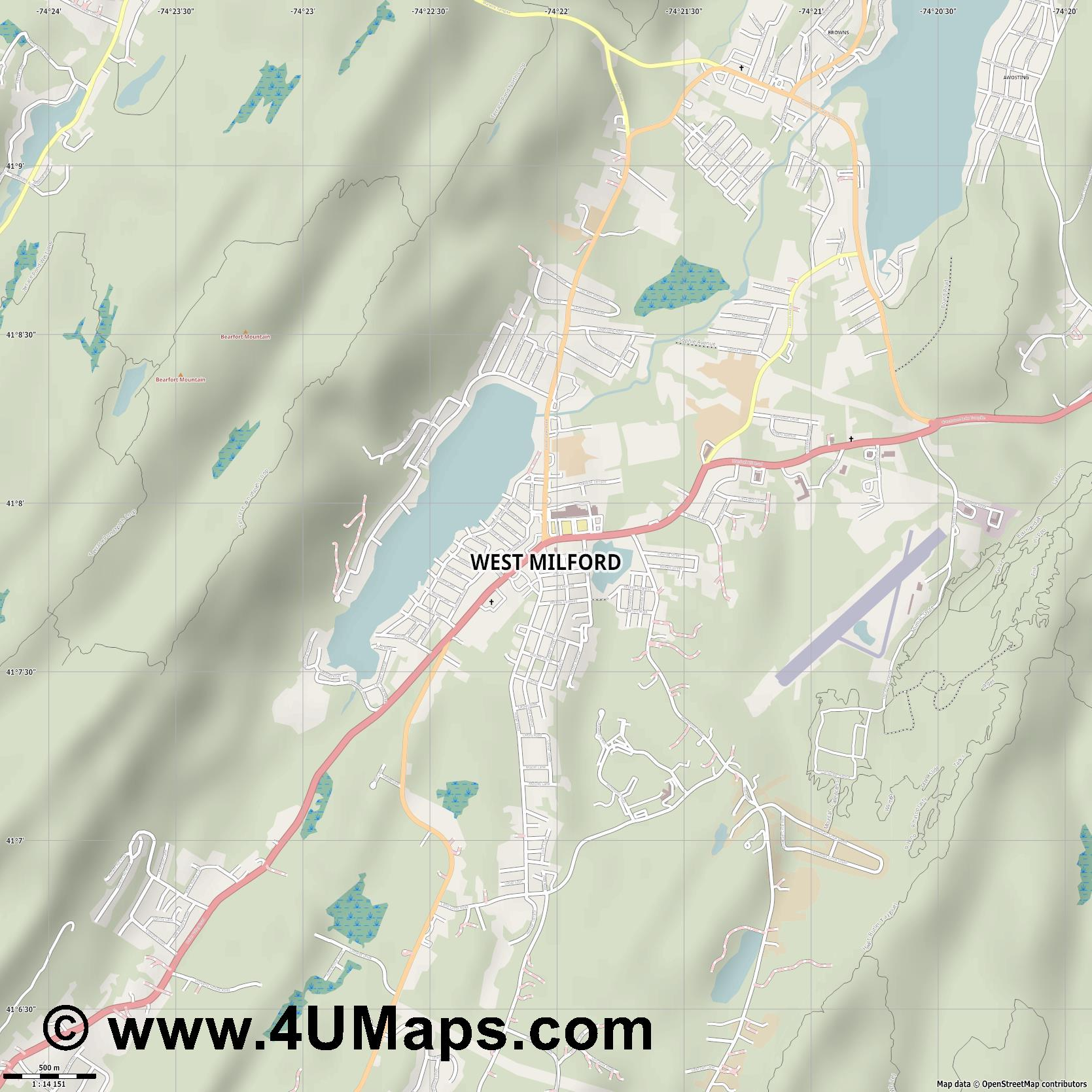 West Milford  jpg ultra high detail preview vector city map