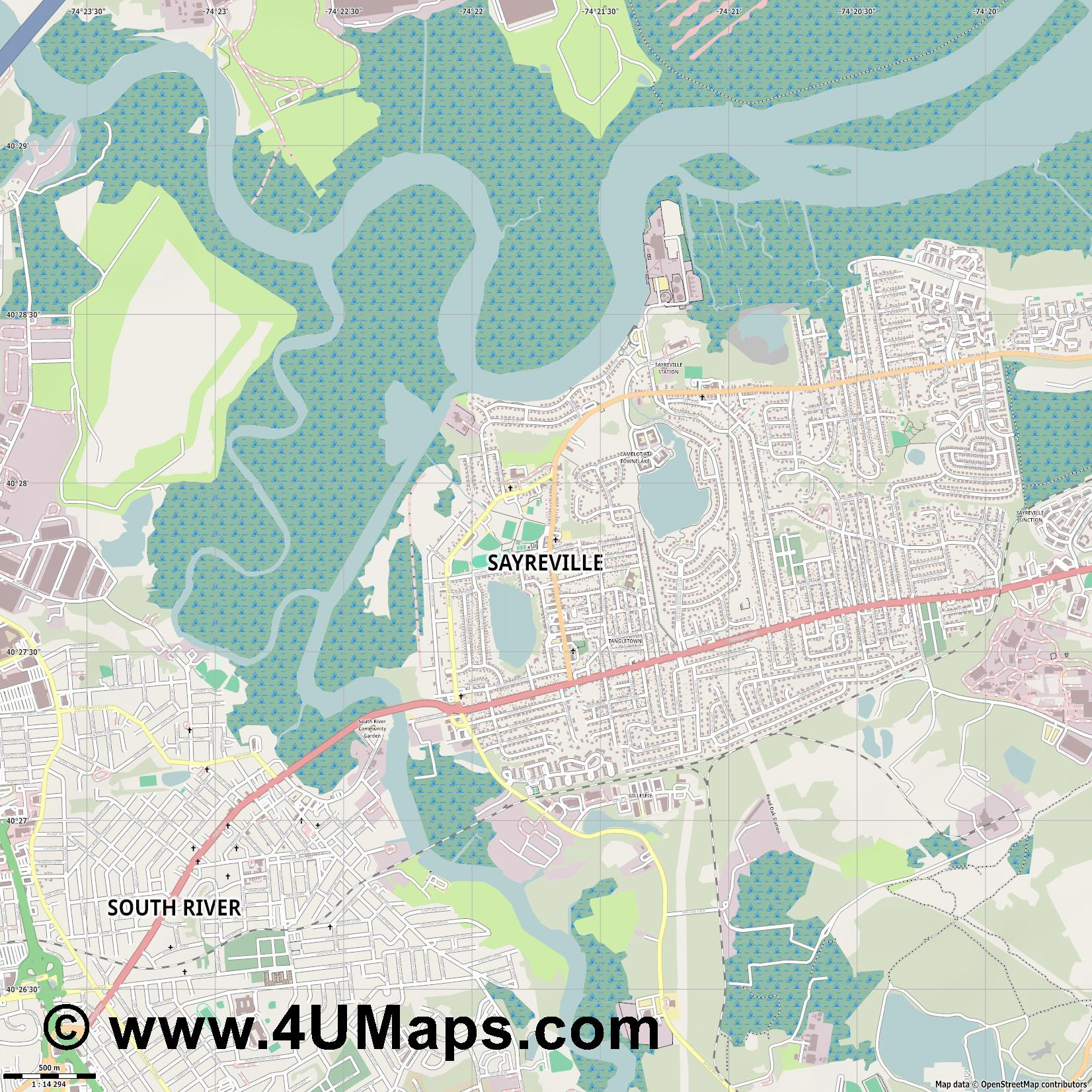 Sayreville  jpg ultra high detail preview vector city map