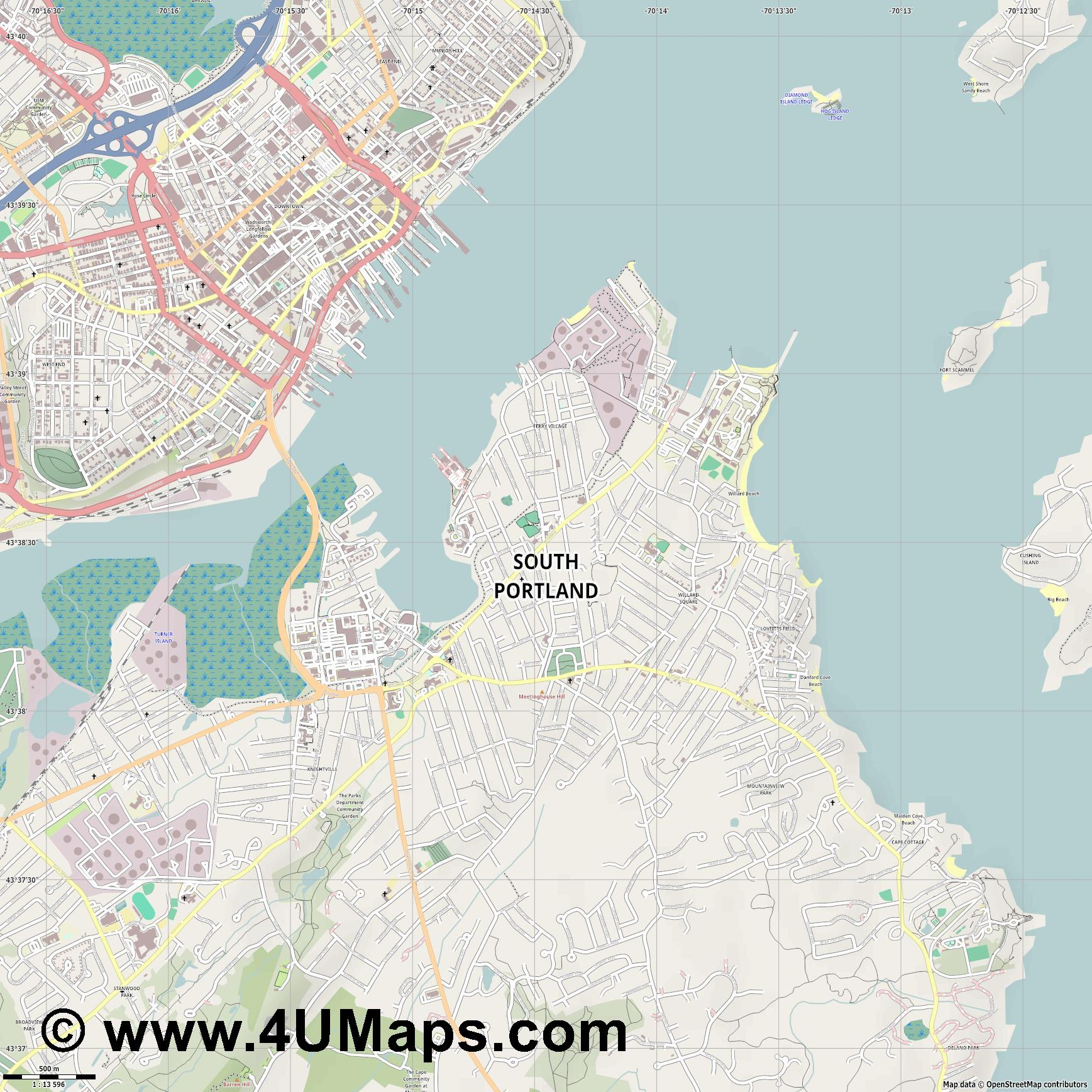South Portland  jpg ultra high detail preview vector city map