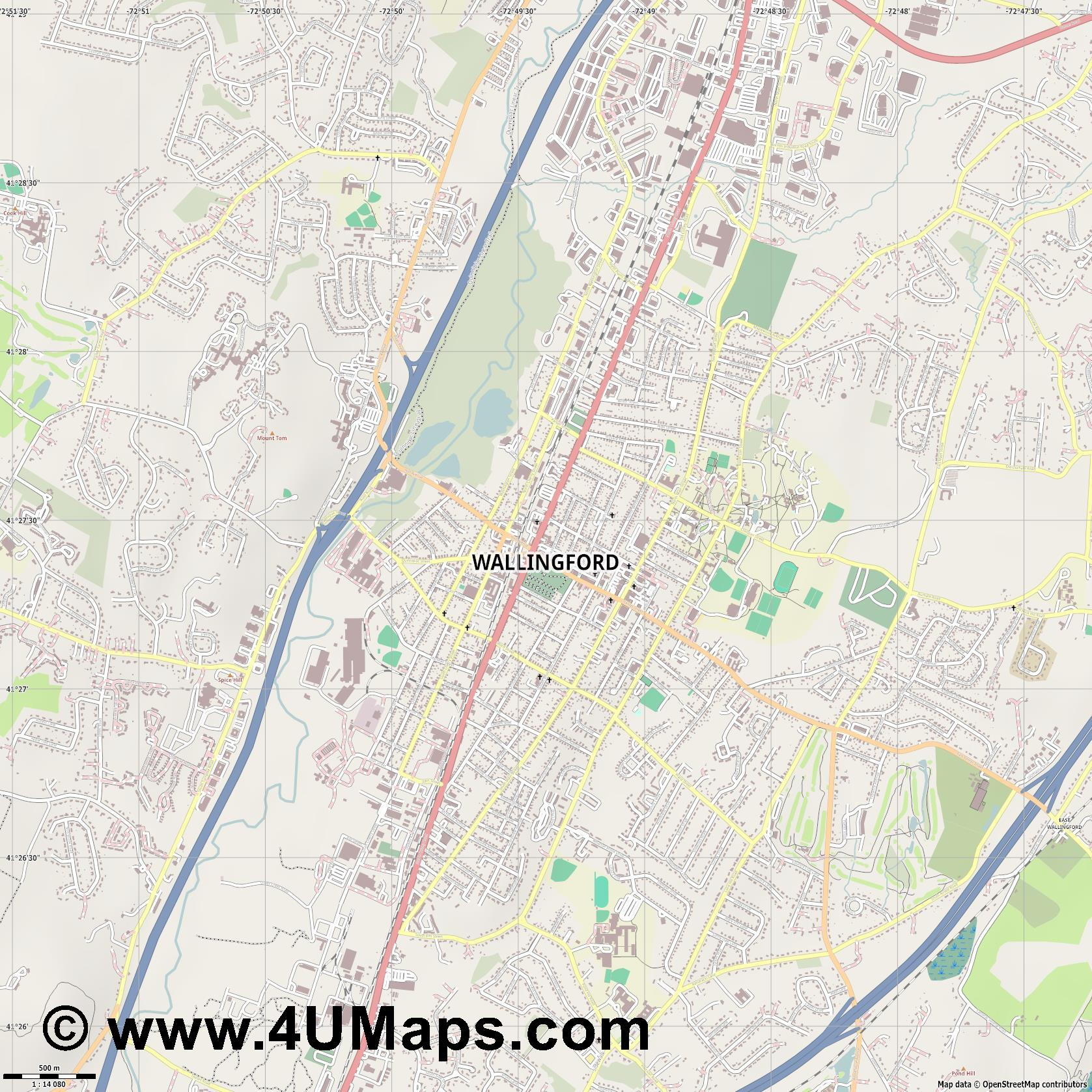 Wallingford  jpg ultra high detail preview vector city map