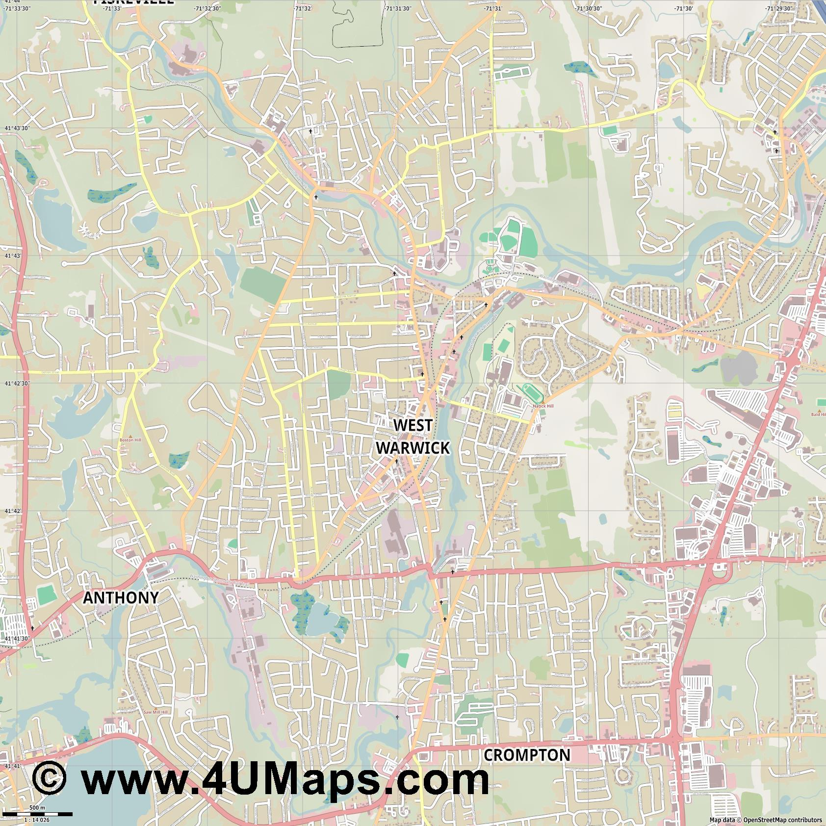 West Warwick  jpg ultra high detail preview vector city map