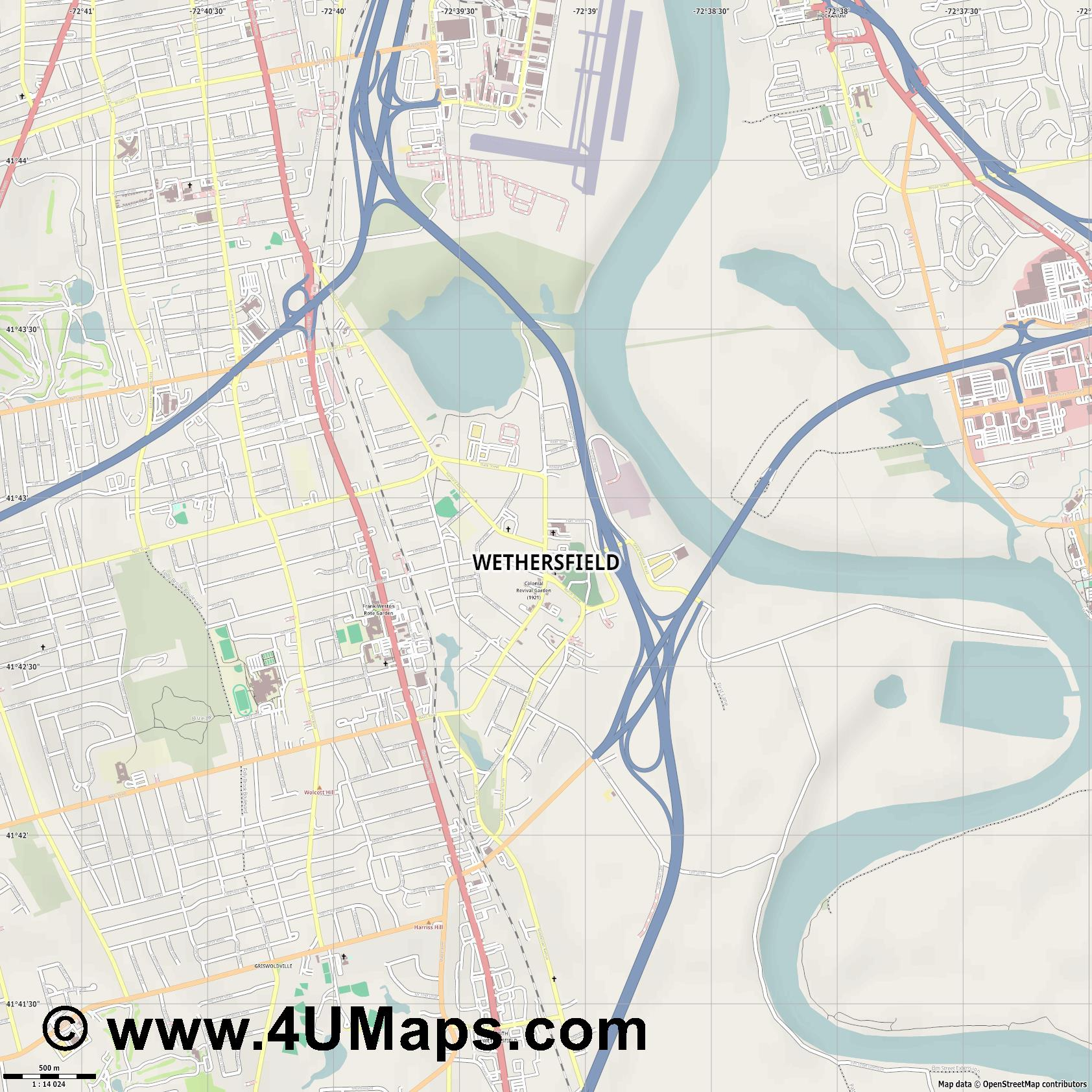 Wethersfield  jpg ultra high detail preview vector city map