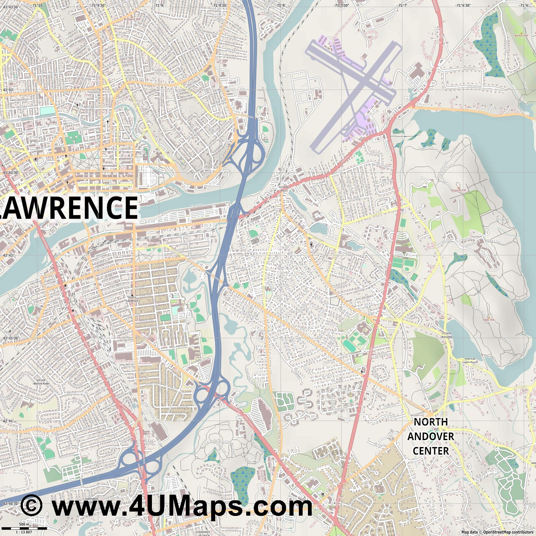 North Andover  jpg ultra high detail preview vector city map