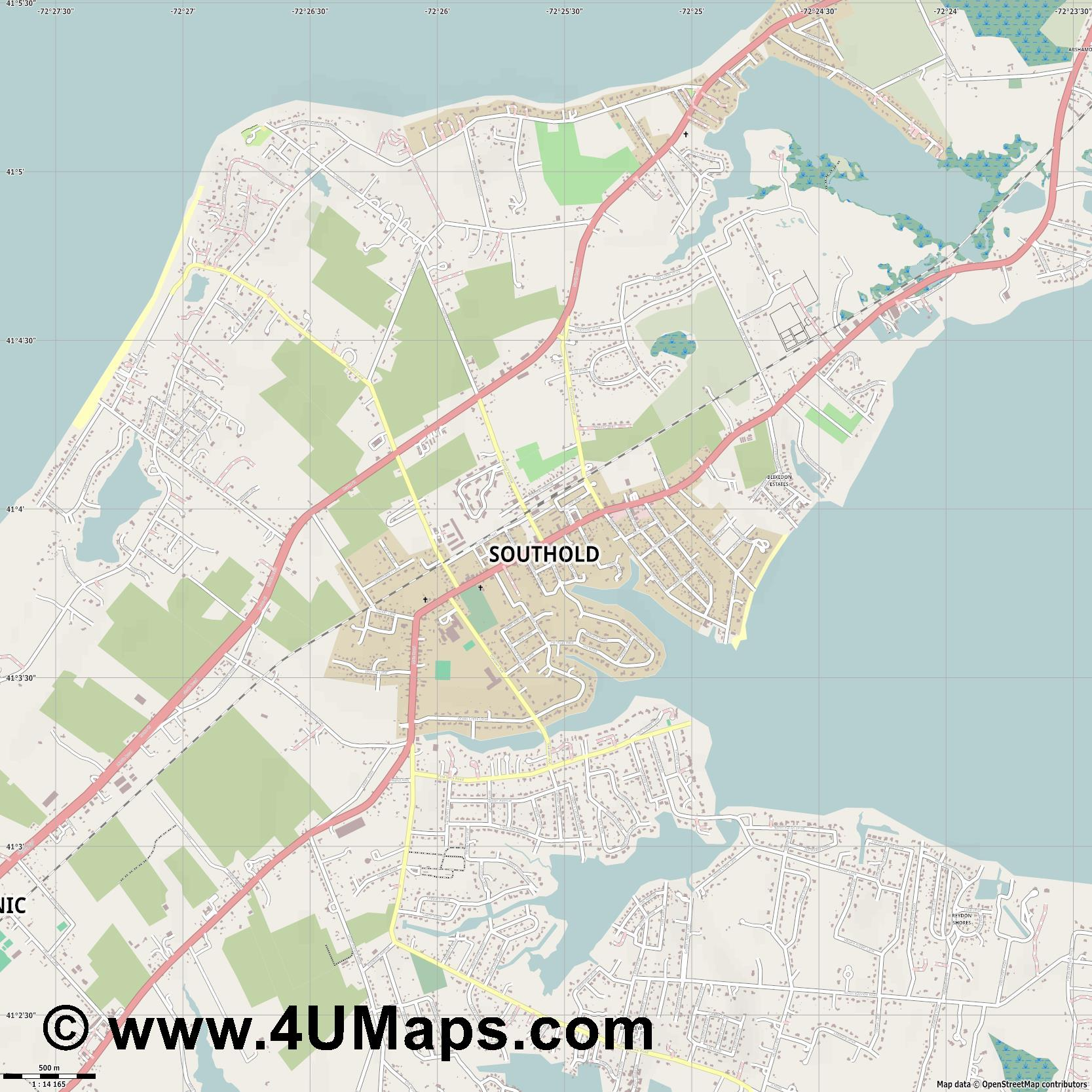Southold  jpg ultra high detail preview vector city map