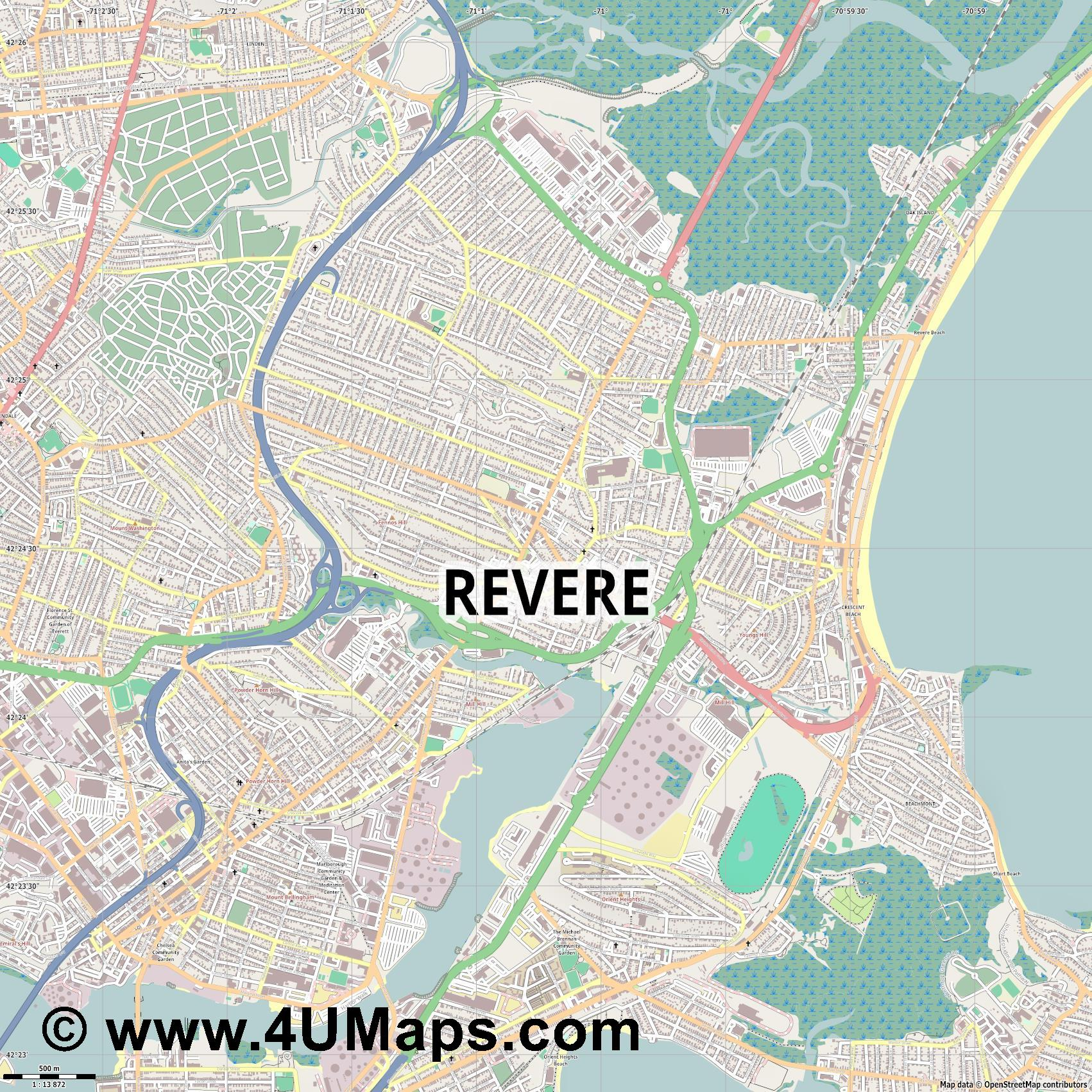 Revere  jpg ultra high detail preview vector city map
