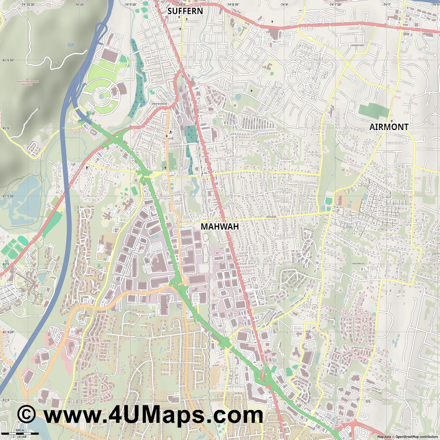 Mahwah  jpg ultra high detail preview vector city map