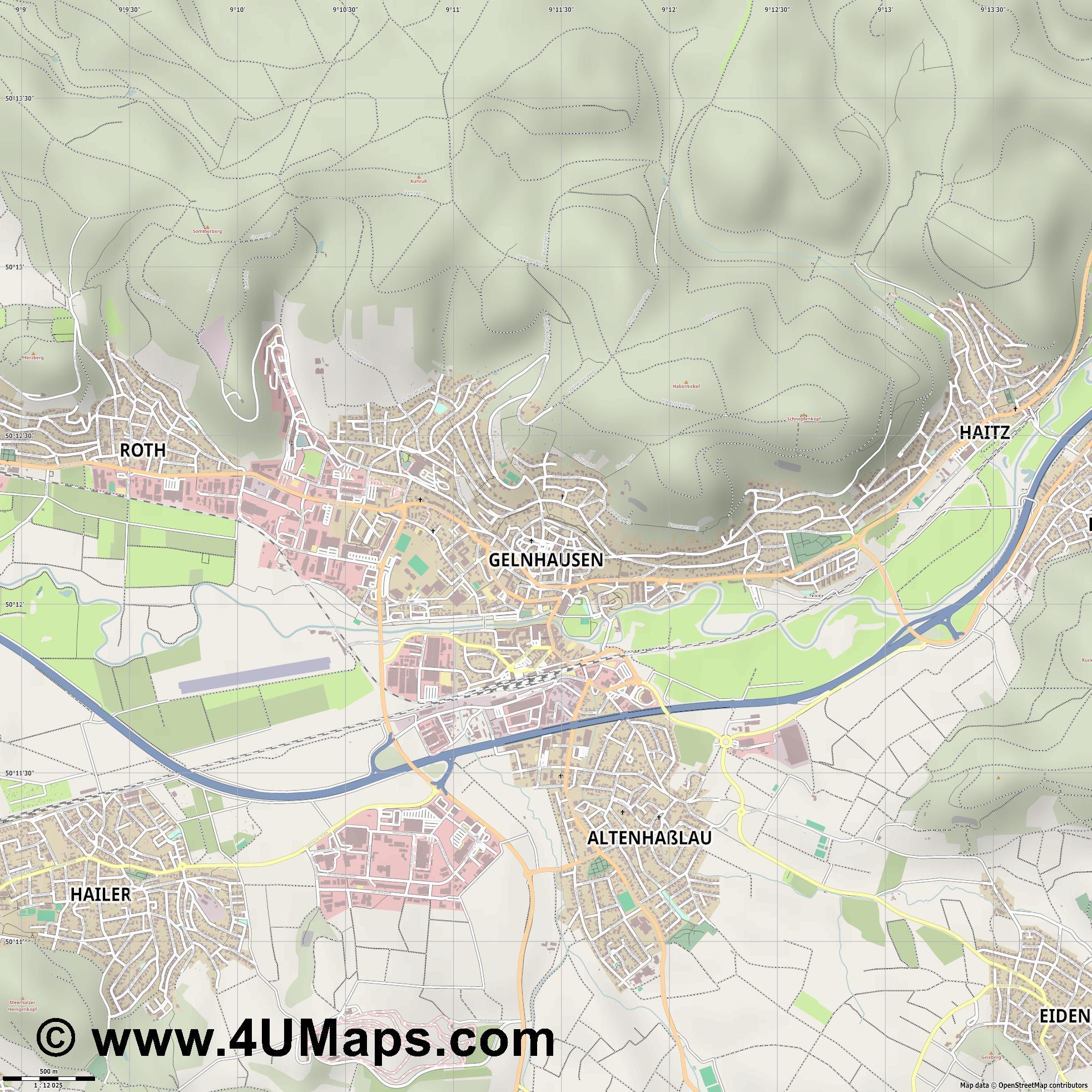 Gelnhausen  jpg ultra high detail preview vector city map