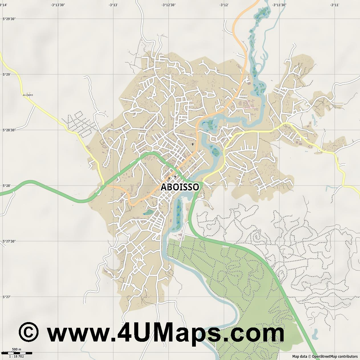 Aboisso  jpg ultra high detail preview vector city map
