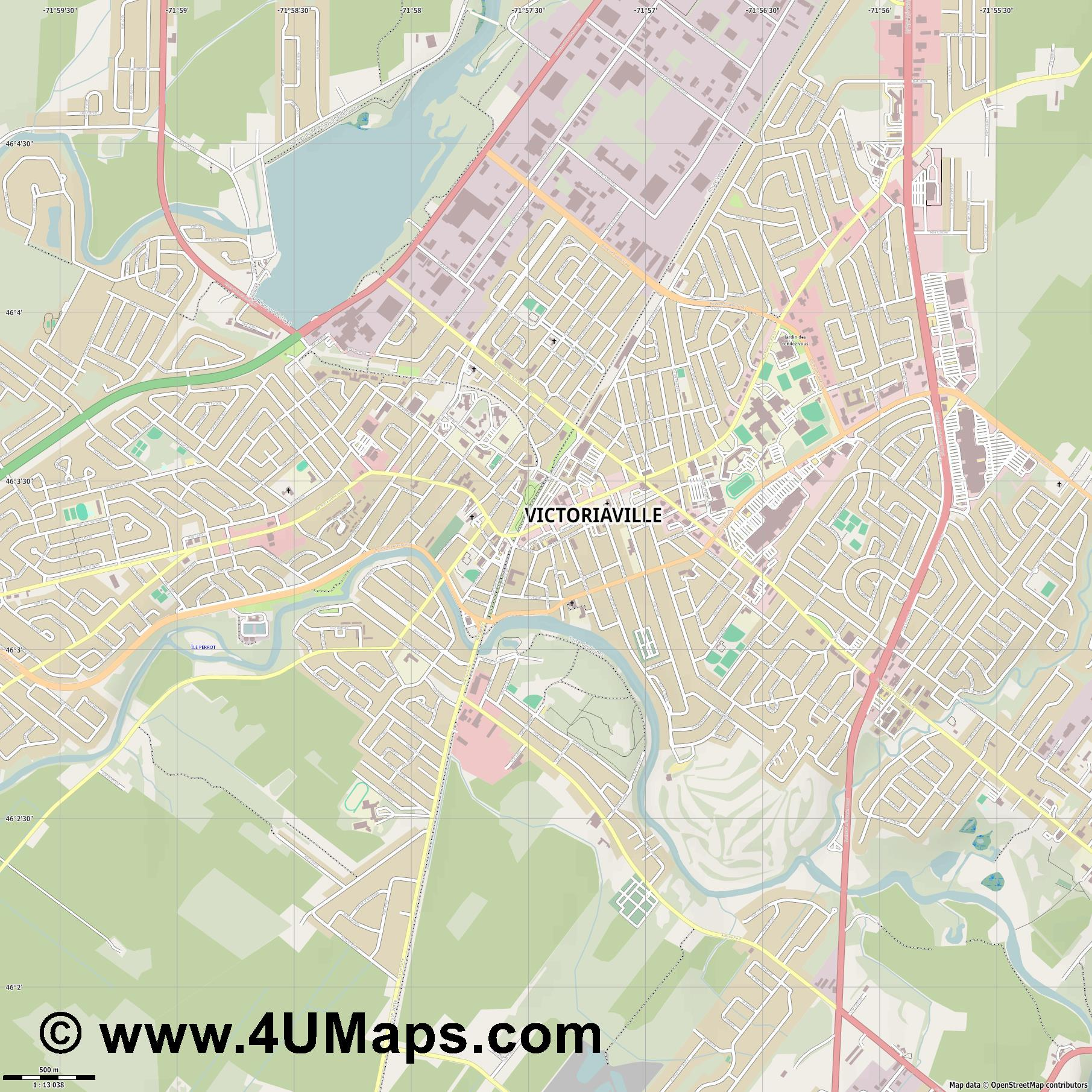 Victoriaville  jpg ultra high detail preview vector city map