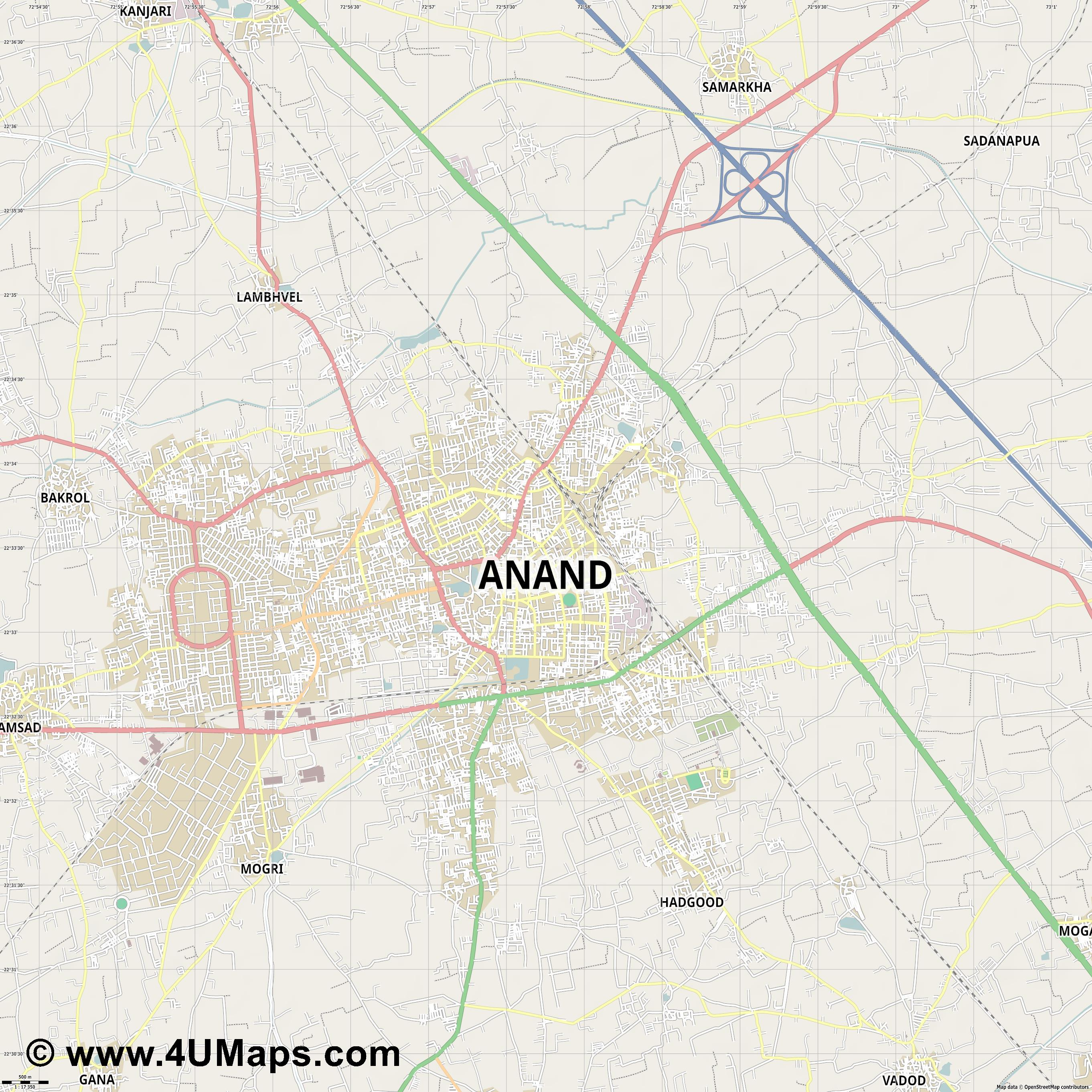 Anand  jpg ultra high detail preview vector city map