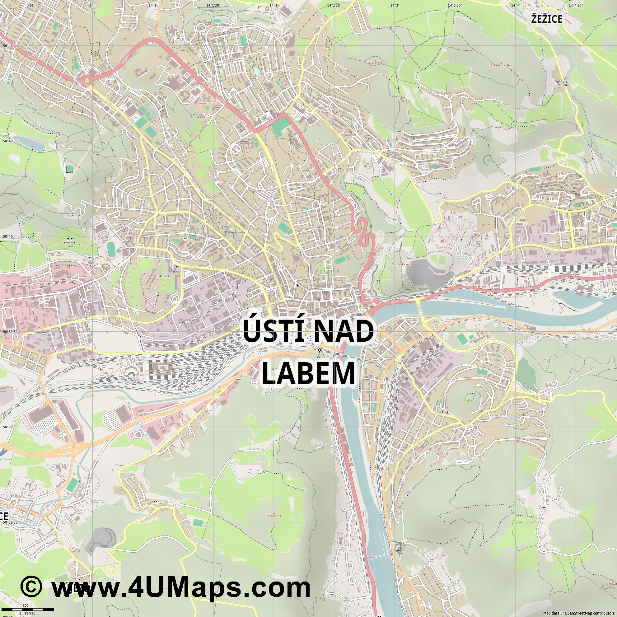 Ústí nad Labem Aussig  jpg ultra high detail preview vector city map