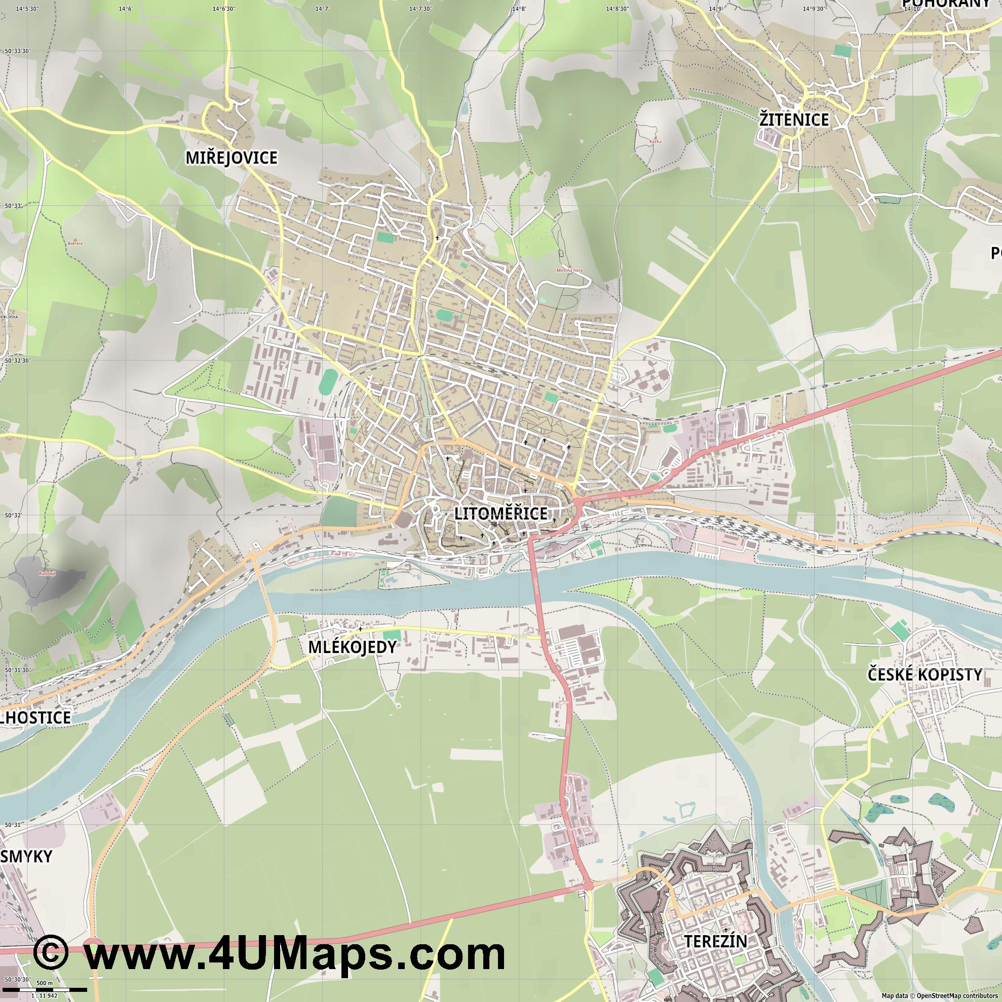 Litoměřice Leitmeritz  jpg ultra high detail preview vector city map