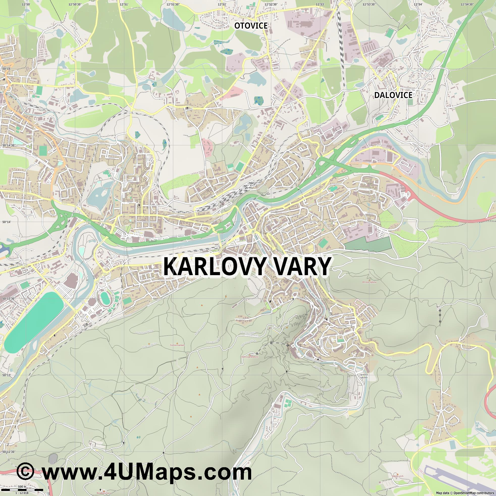 Karlovy Vary Carlsbad Karlsbad  jpg ultra high detail preview vector city map
