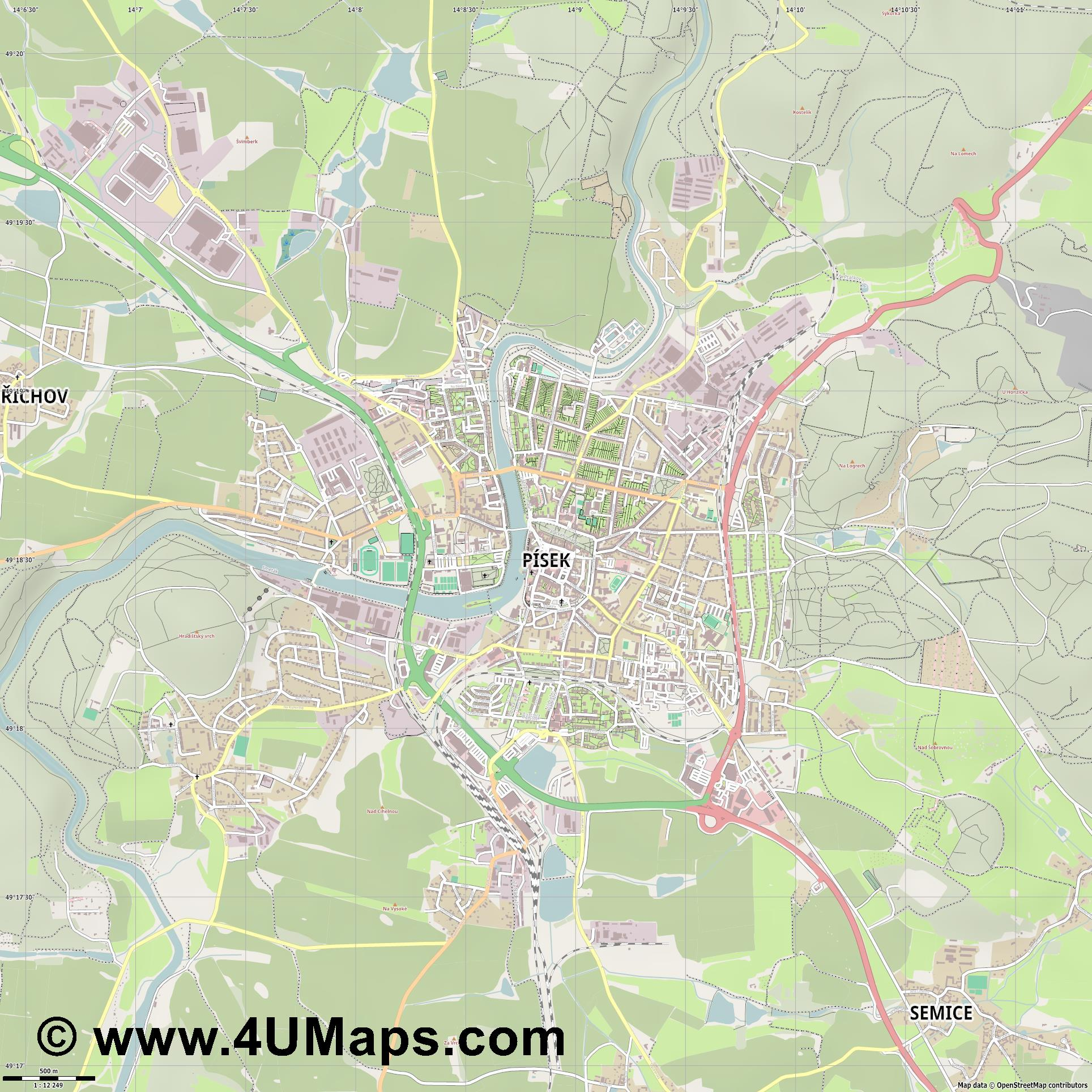 Písek Pisek  jpg ultra high detail preview vector city map