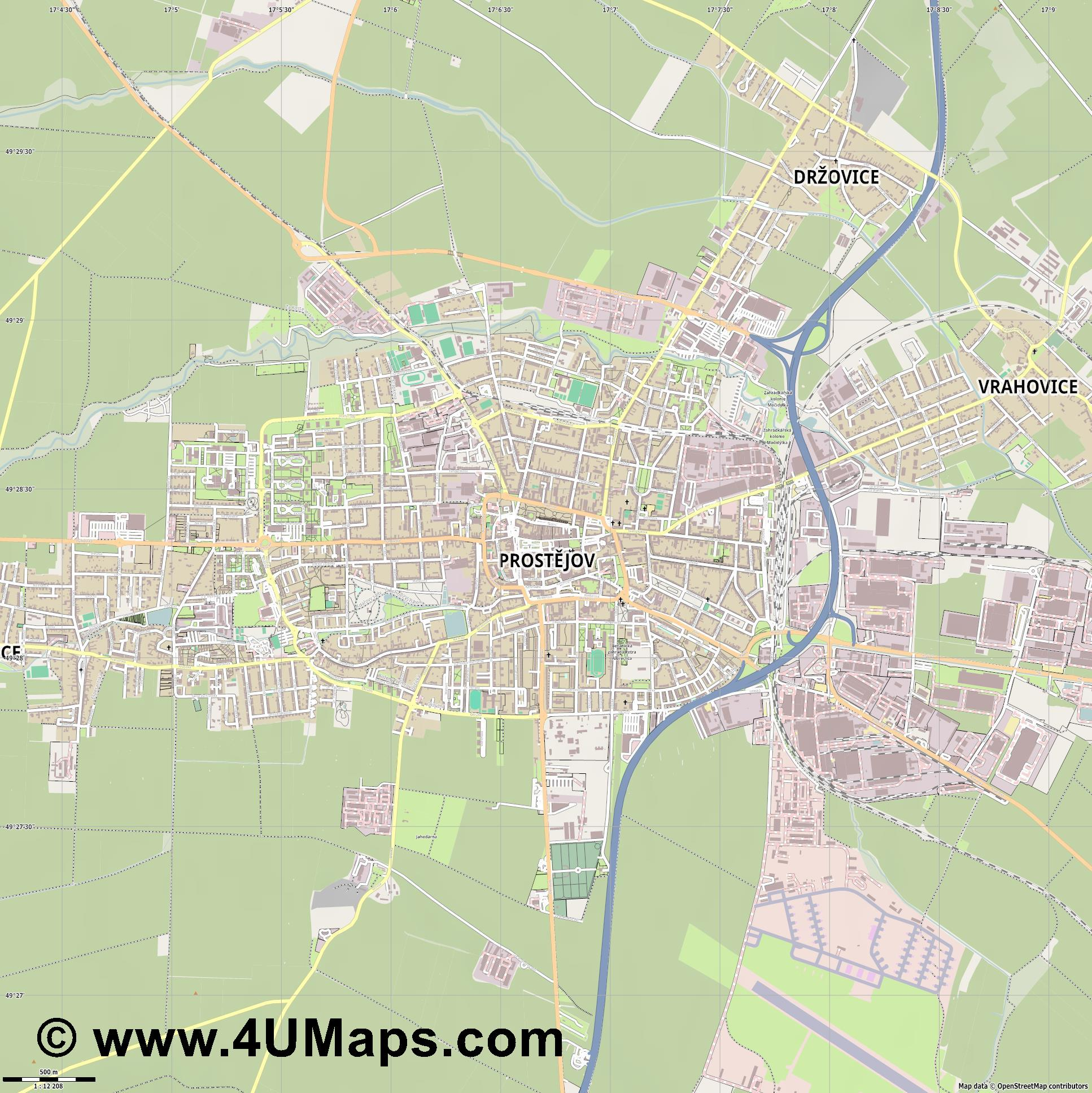 Prostějov Proßnitz in Mähren  jpg ultra high detail preview vector city map
