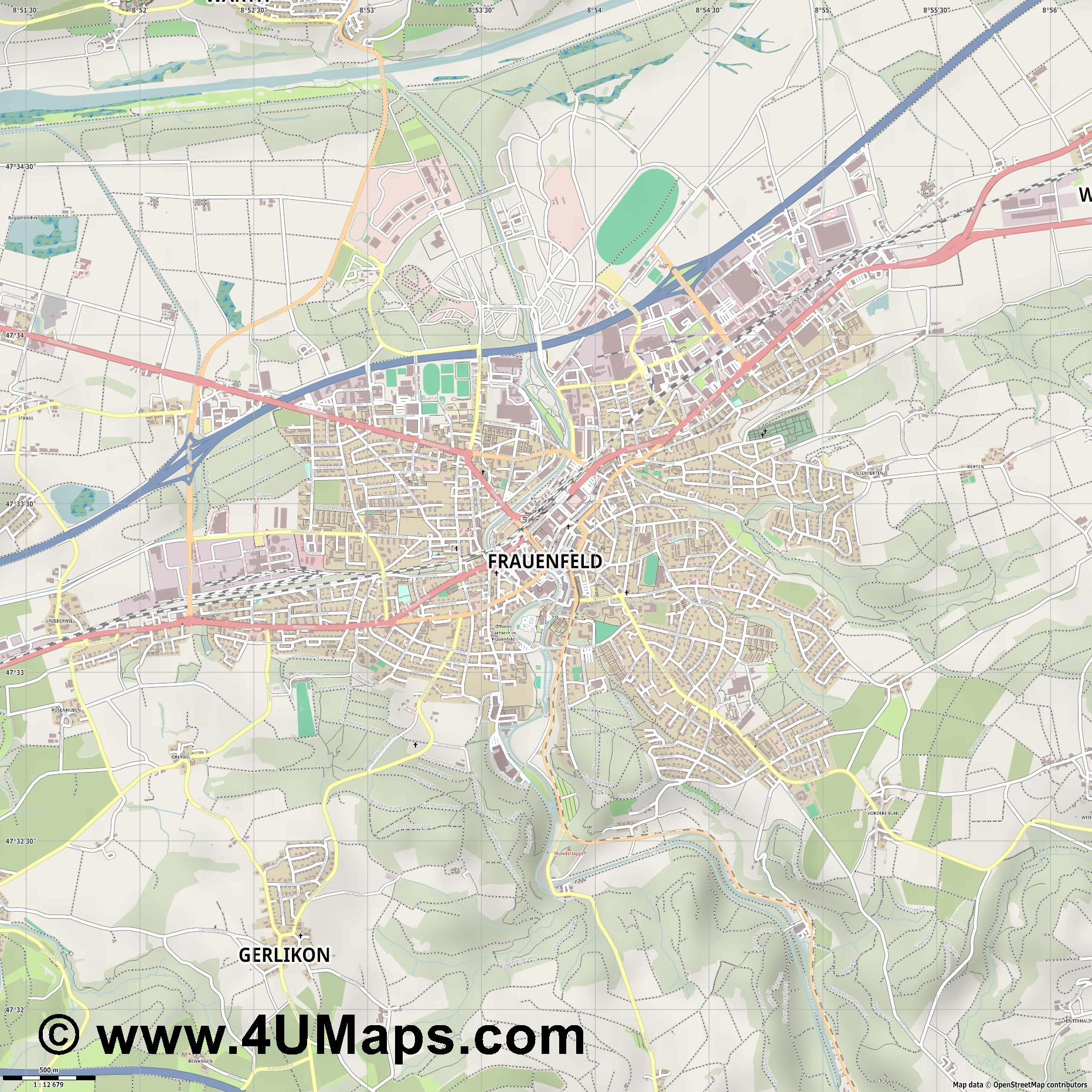 Frauenfeld  jpg ultra high detail preview vector city map