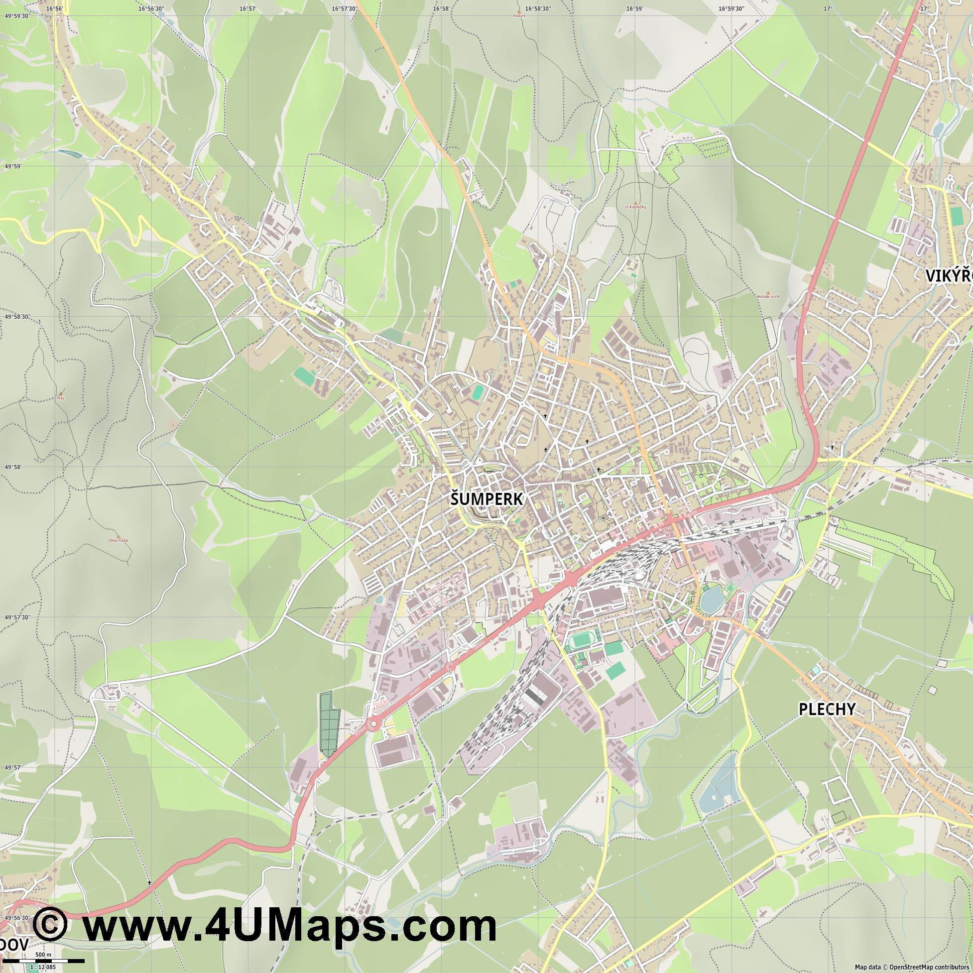 Šumperk Mährisch Schönberg  jpg ultra high detail preview vector city map