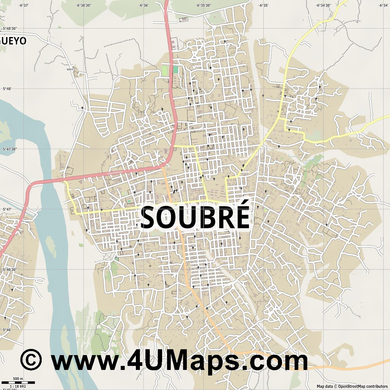 Soubré  jpg ultra high detail preview vector city map
