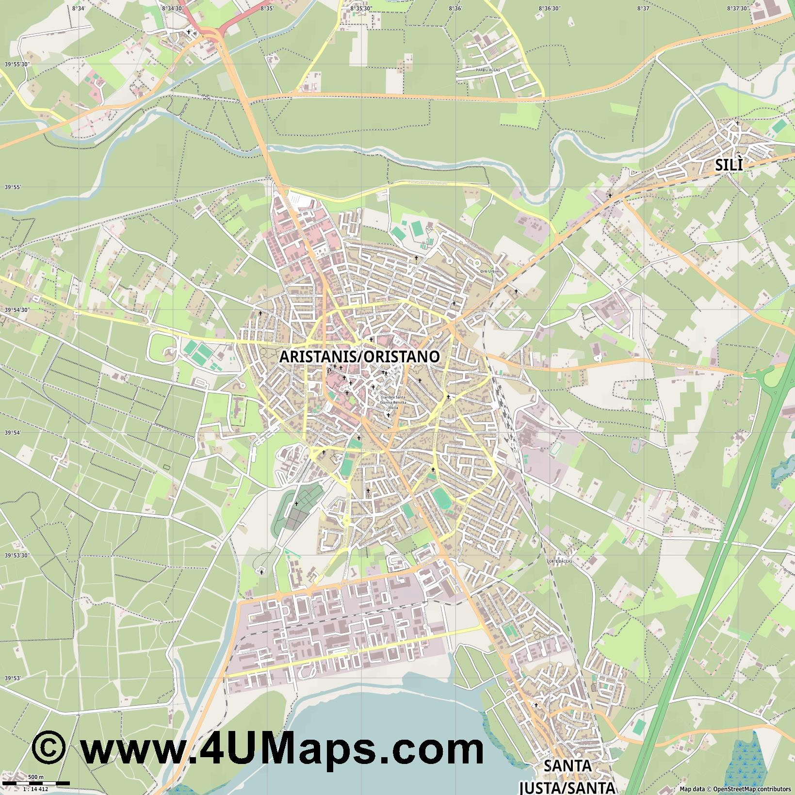 Oristano  jpg ultra high detail preview vector city map