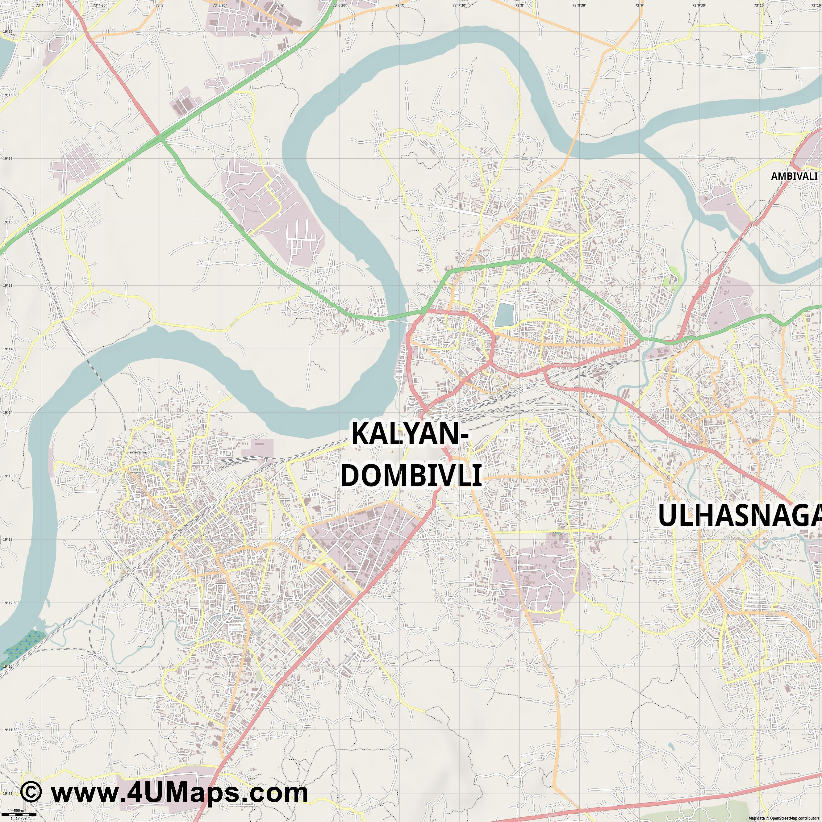 Kalyan Dombivali  jpg ultra high detail preview vector city map