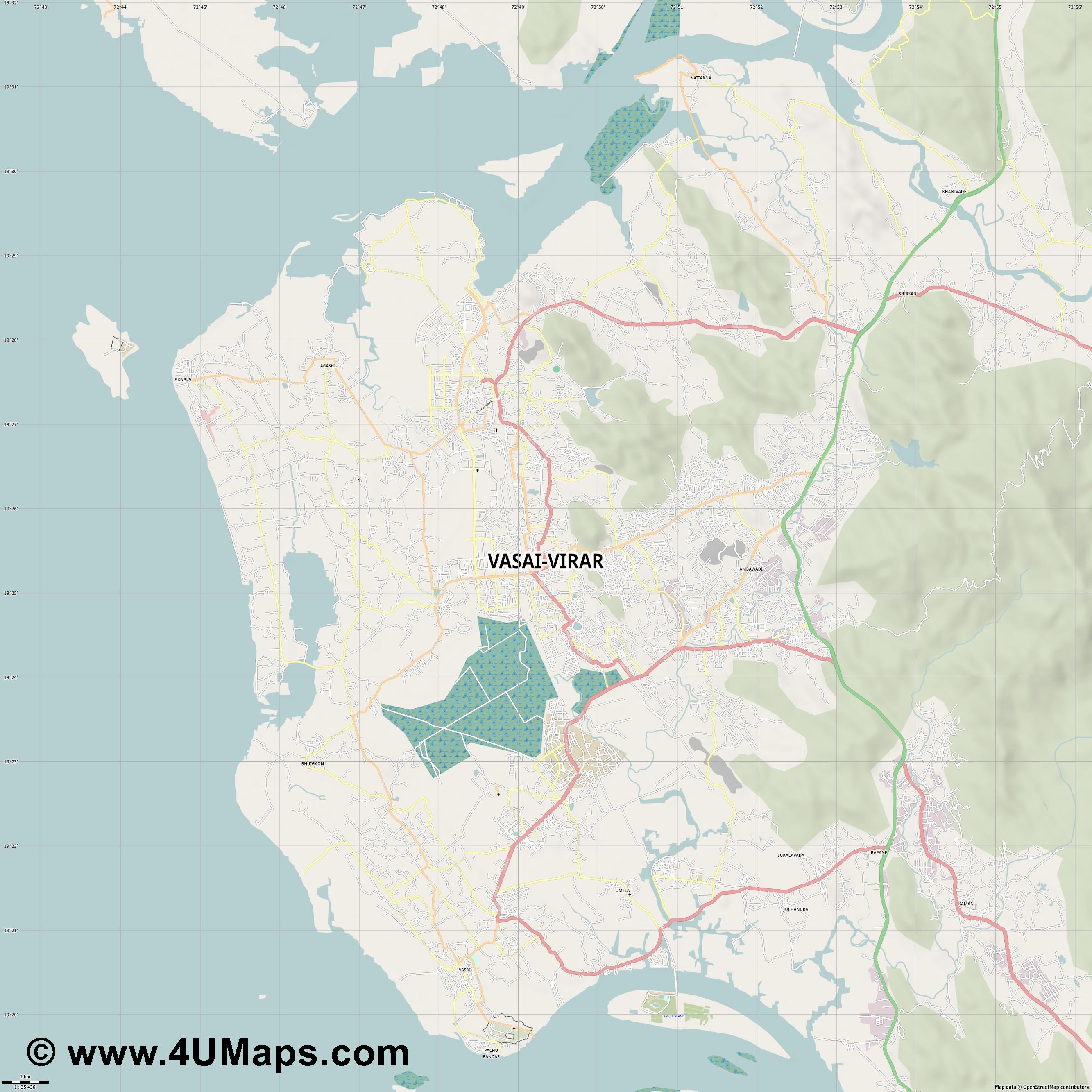 Vasai Virar  jpg high detail, large area preview vector city map