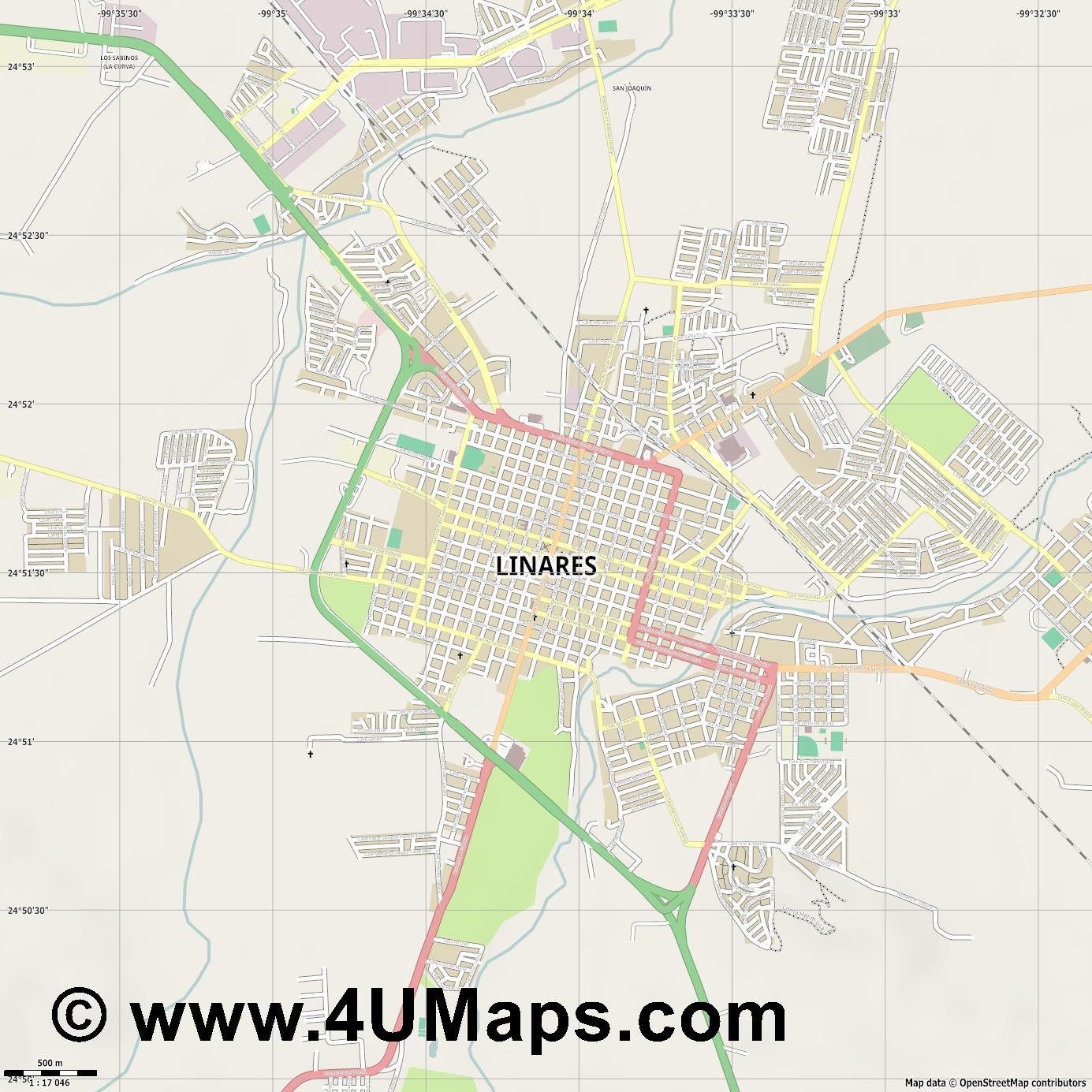Linares  jpg ultra high detail preview vector city map
