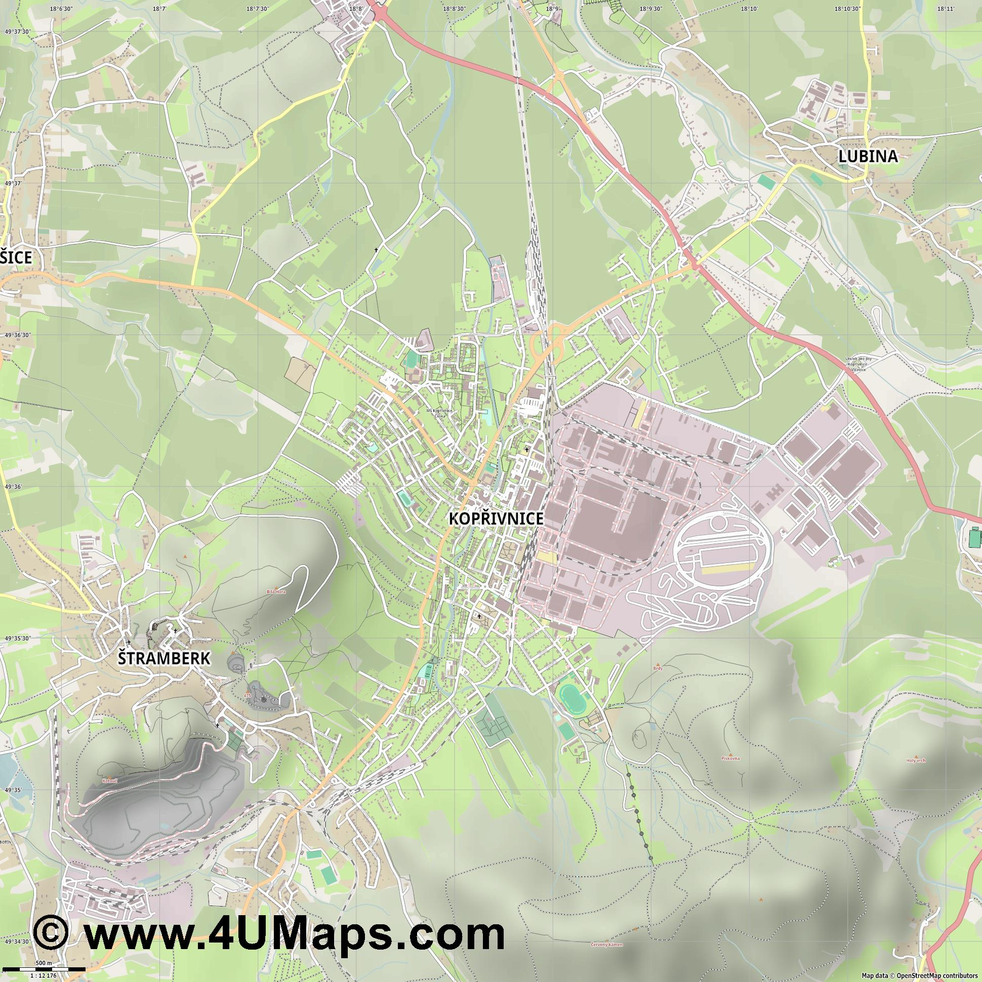 Kopřivnice Nesselsdorf  jpg ultra high detail preview vector city map
