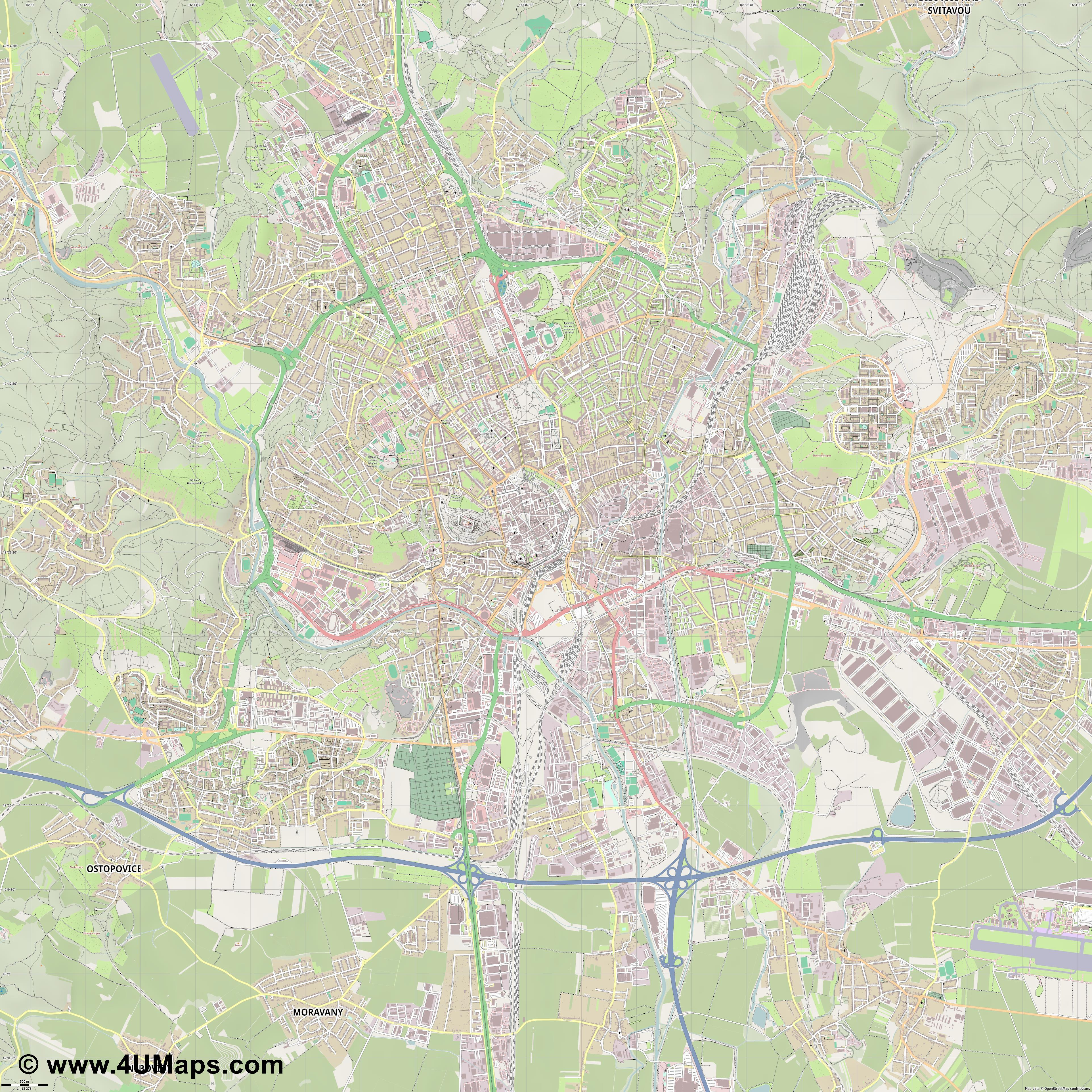 PDF Svg Scalable Vector City Map Brno