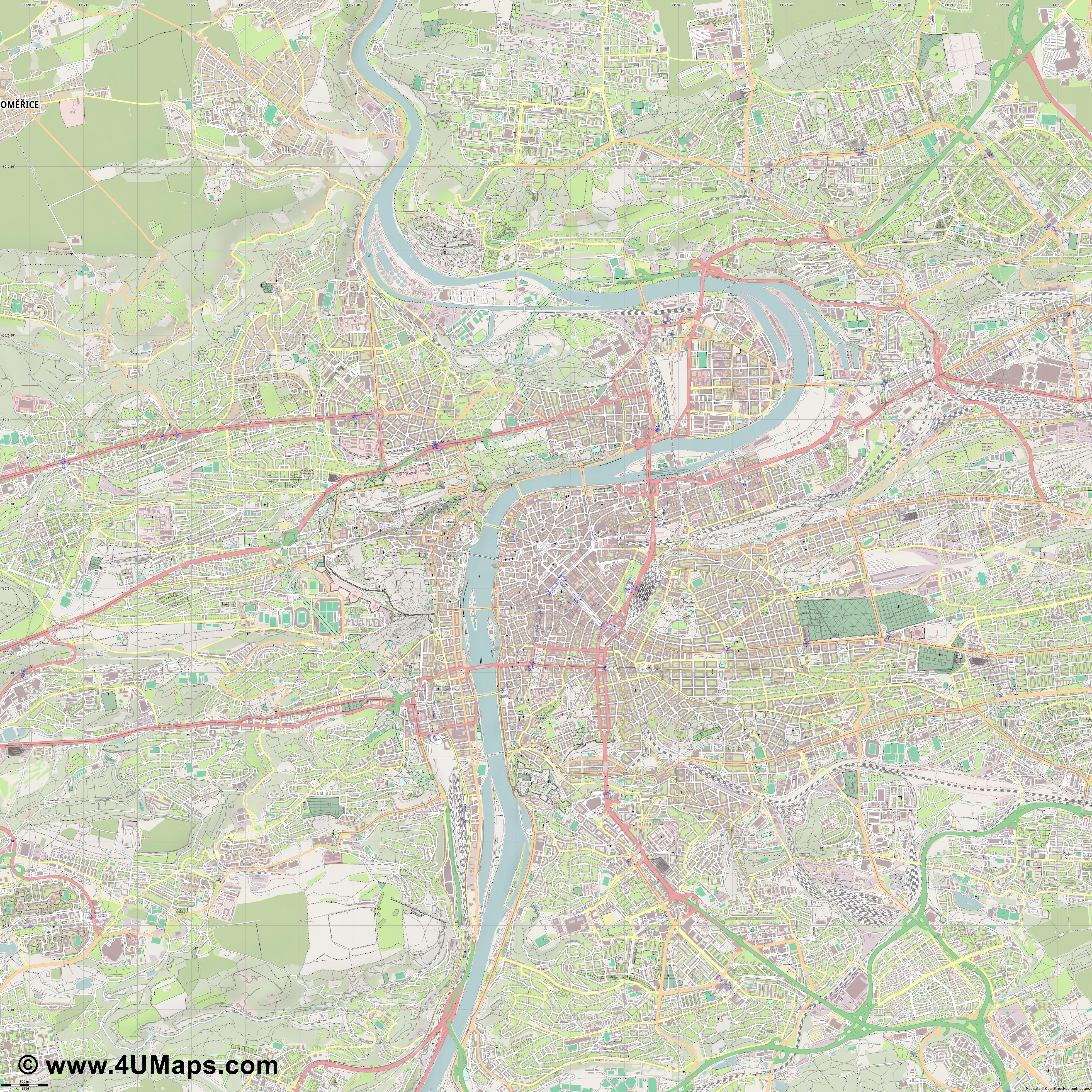 Praha Prague Praga  jpg ultra high detail preview vector city map