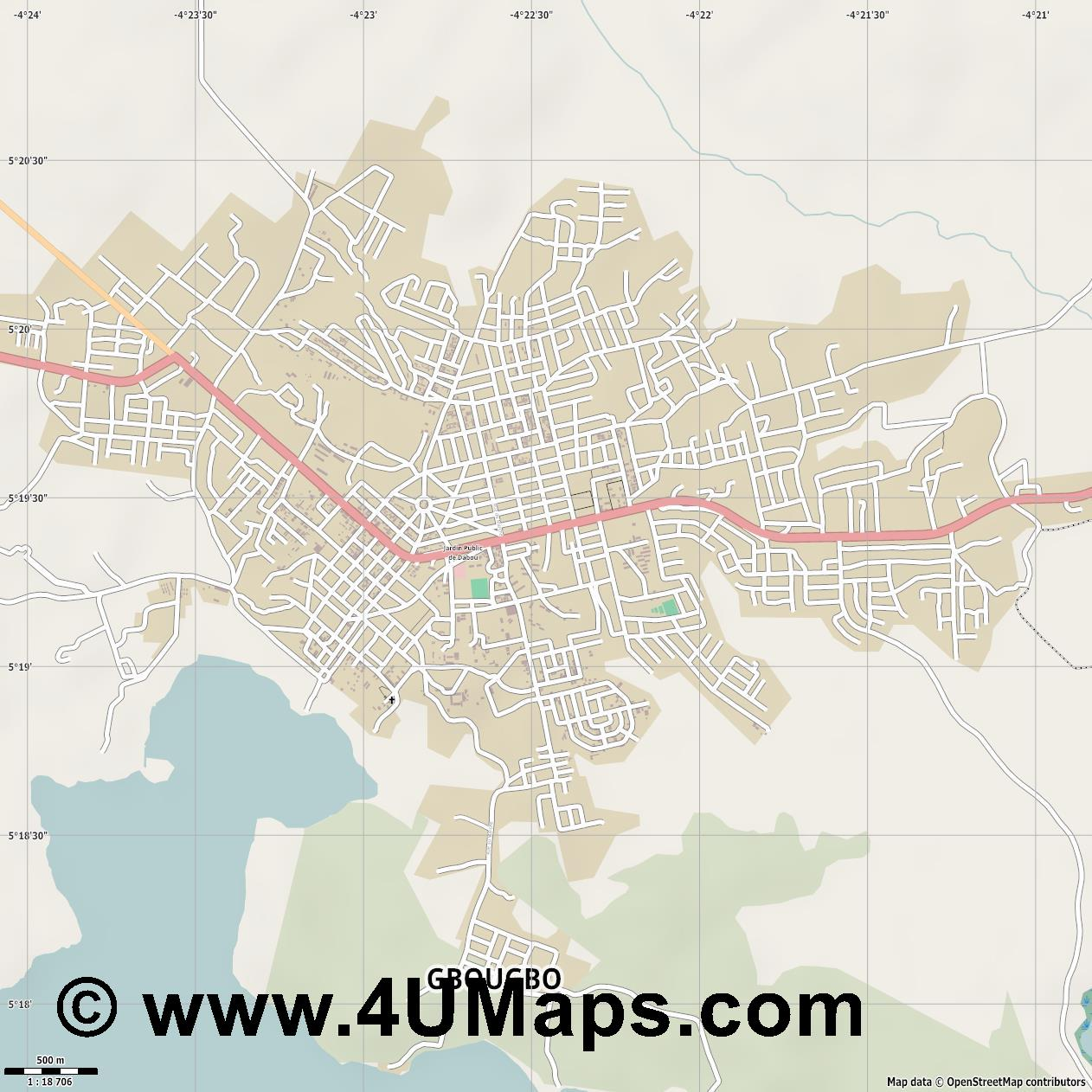 Dabou  jpg ultra high detail preview vector city map