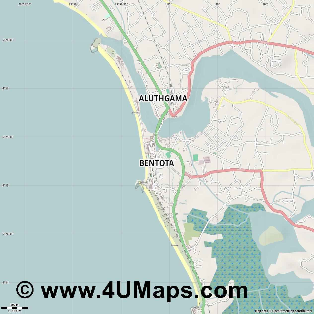 Bentota  jpg ultra high detail preview vector city map