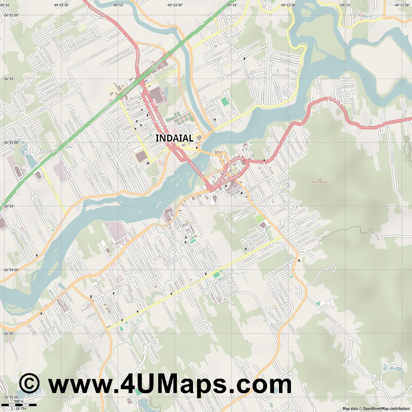 Indaial  jpg ultra high detail preview vector city map
