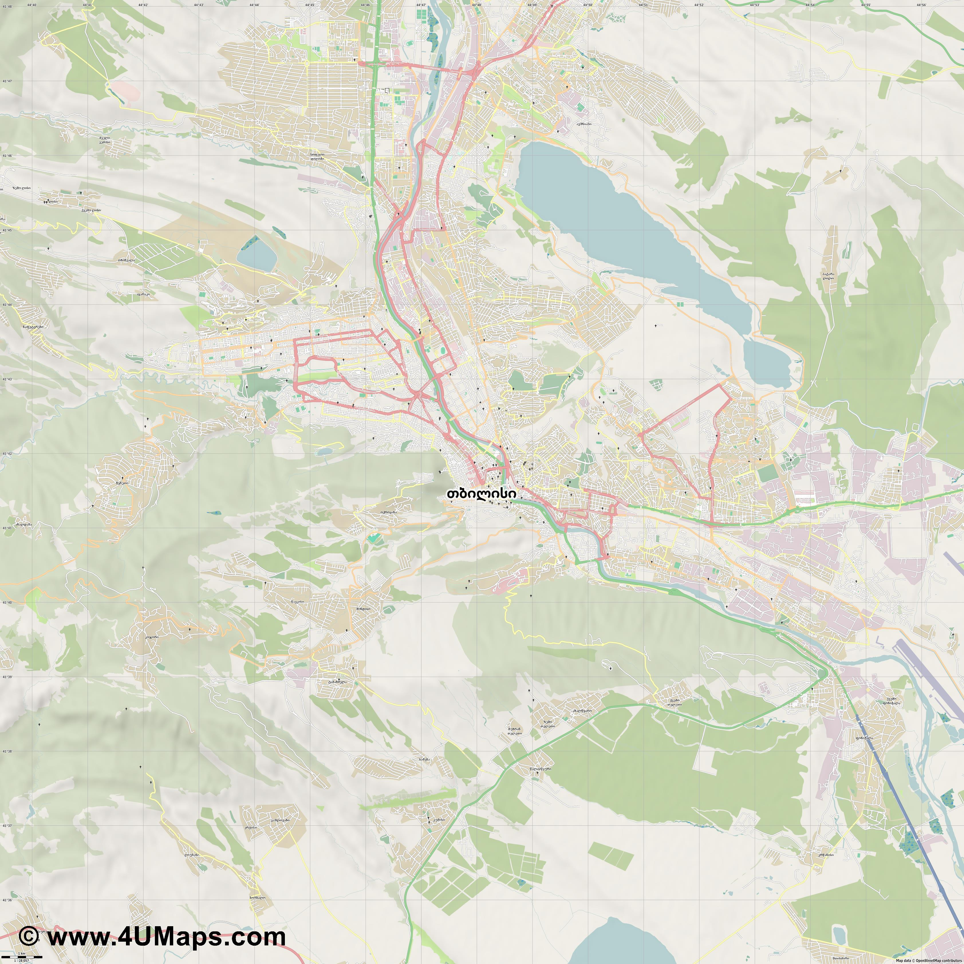 თბილისი  Tbilisi  Tiflis Tbilissi  jpg high detail, large area preview vector city map